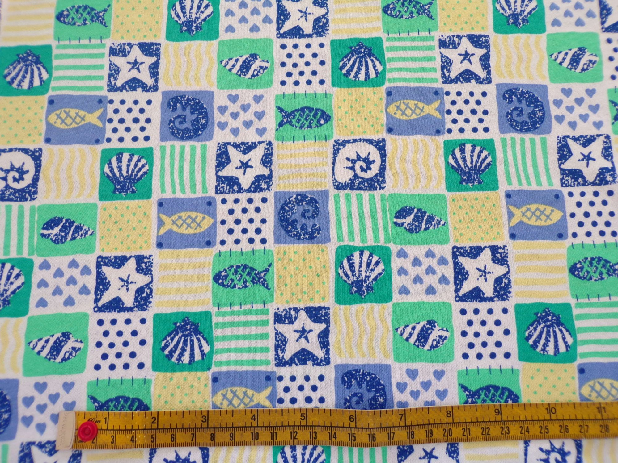 Cotton Jersey - Yellow Blue and Green Seashore Print