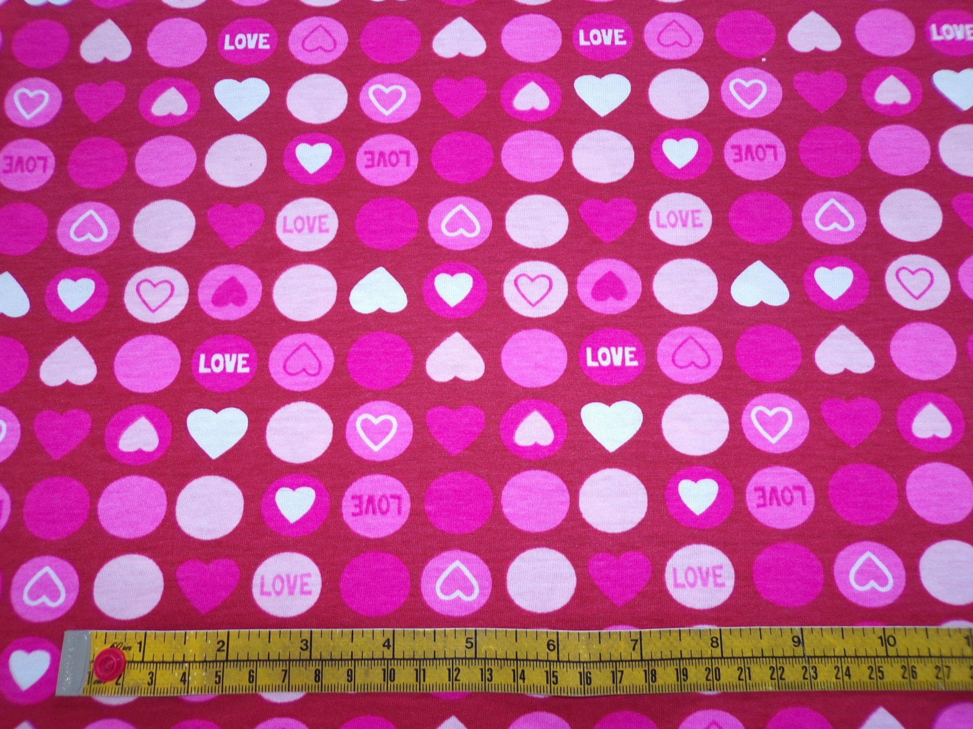 Cotton Jersey - Pink and Red Circles and Hearts