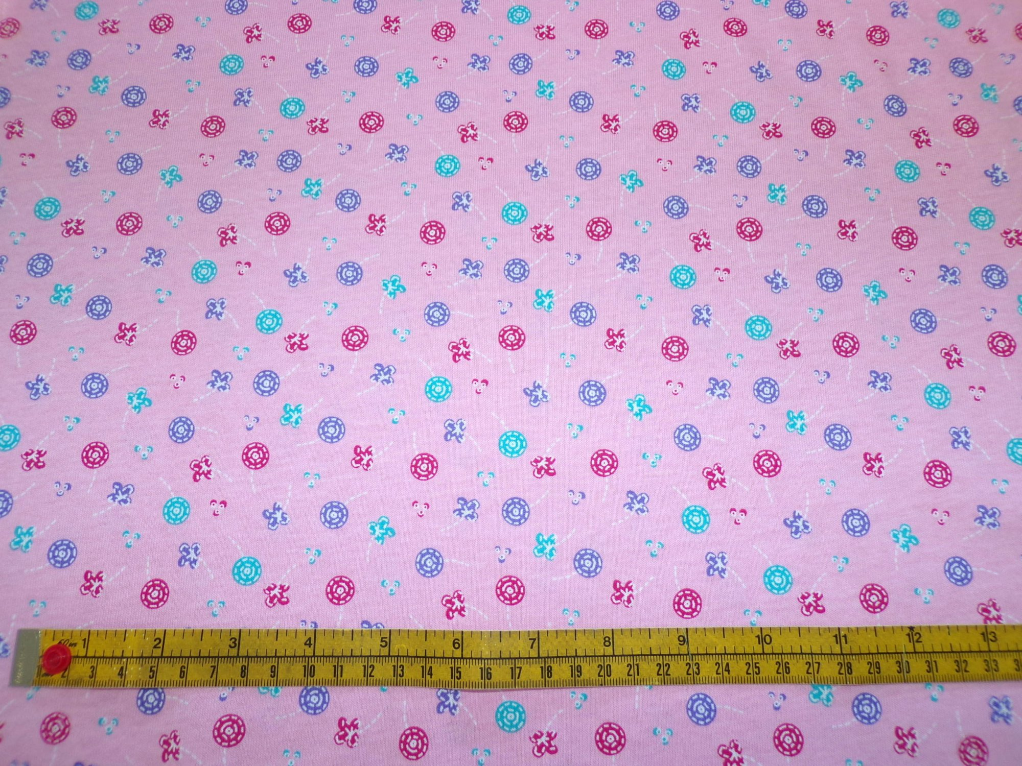 Cotton Jersey - Pink Buttons and Flowers