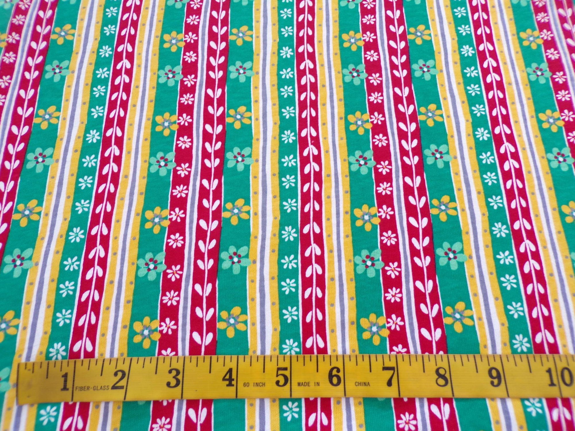 Cotton Jersey - Green, Red, & Yellow Floral Stripes