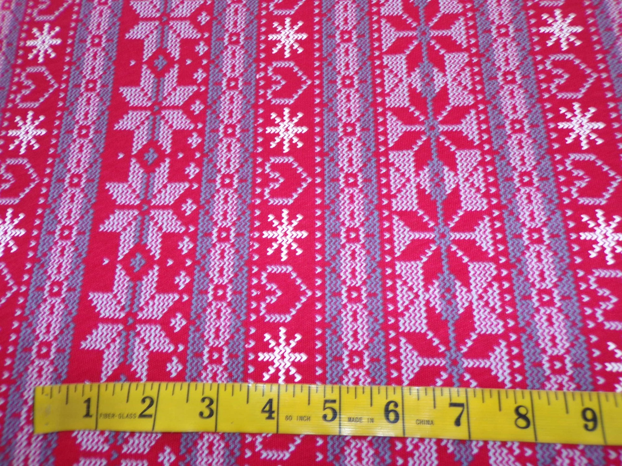 Cotton Jersey - Red and Gray Snowflake and Hearts