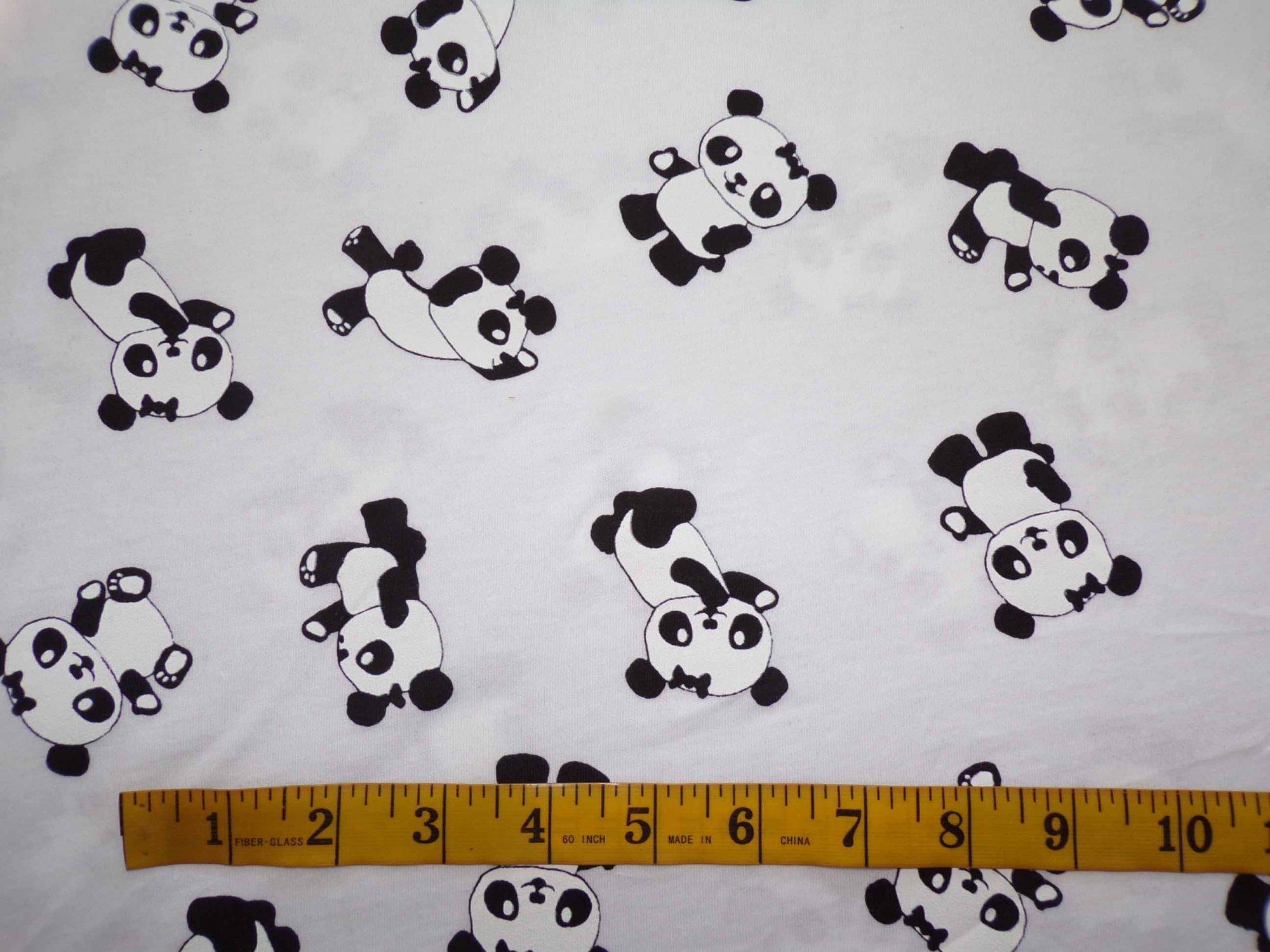 Cotton Jersey - Pandas on White