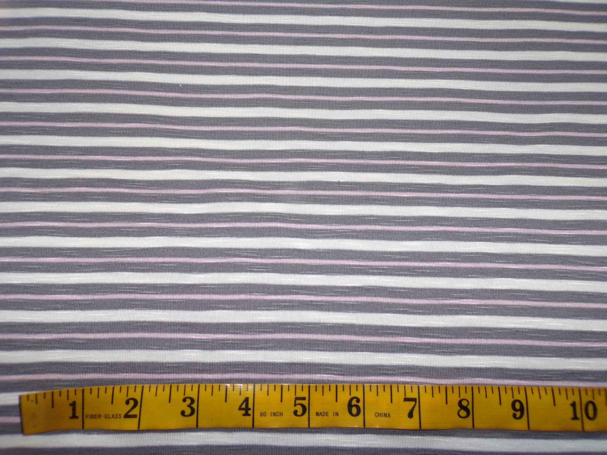 Cotton Lycra Slub Jersey Stripes - Pink and Grey