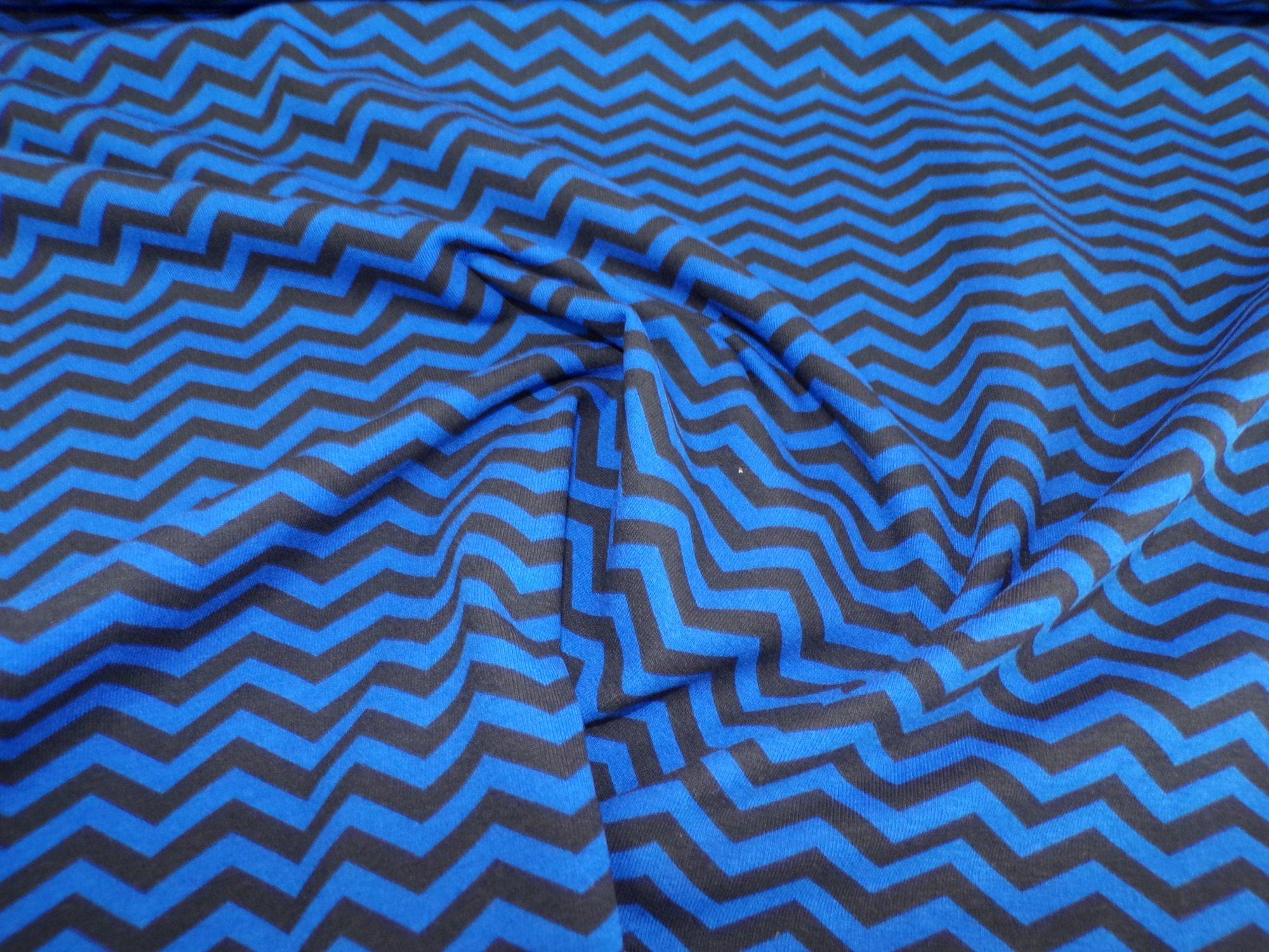 Cotton Lycra Jersey - Blue / Black Chevron