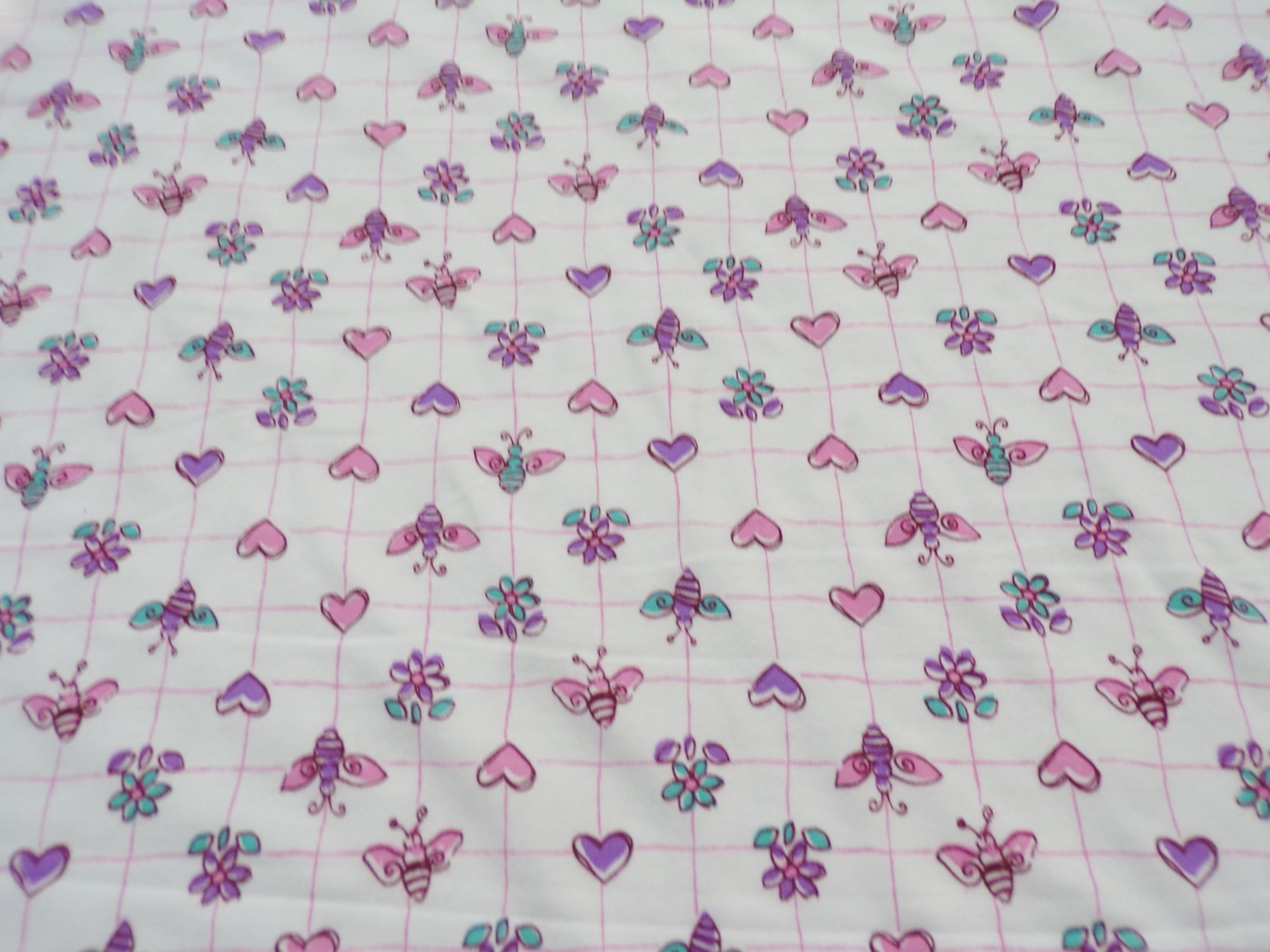 Cotton Lycra Jersey - Hearts Bees and Flowers