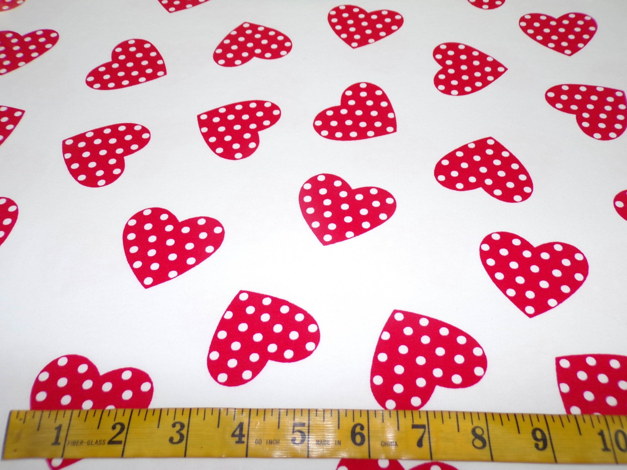 Cotton Lycra Jersey - Polka Dot Hearts