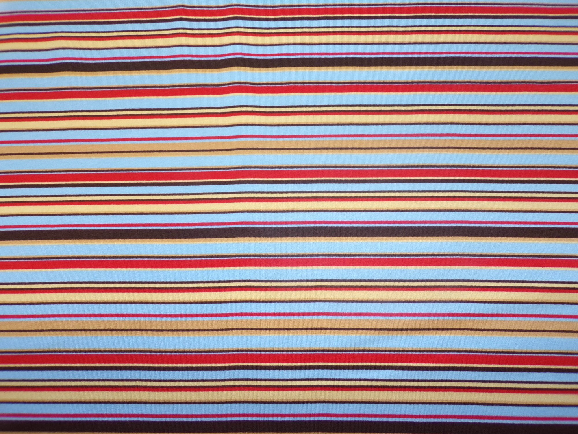 Cotton Lycra Jersey - Brown Blue and Red Stripes