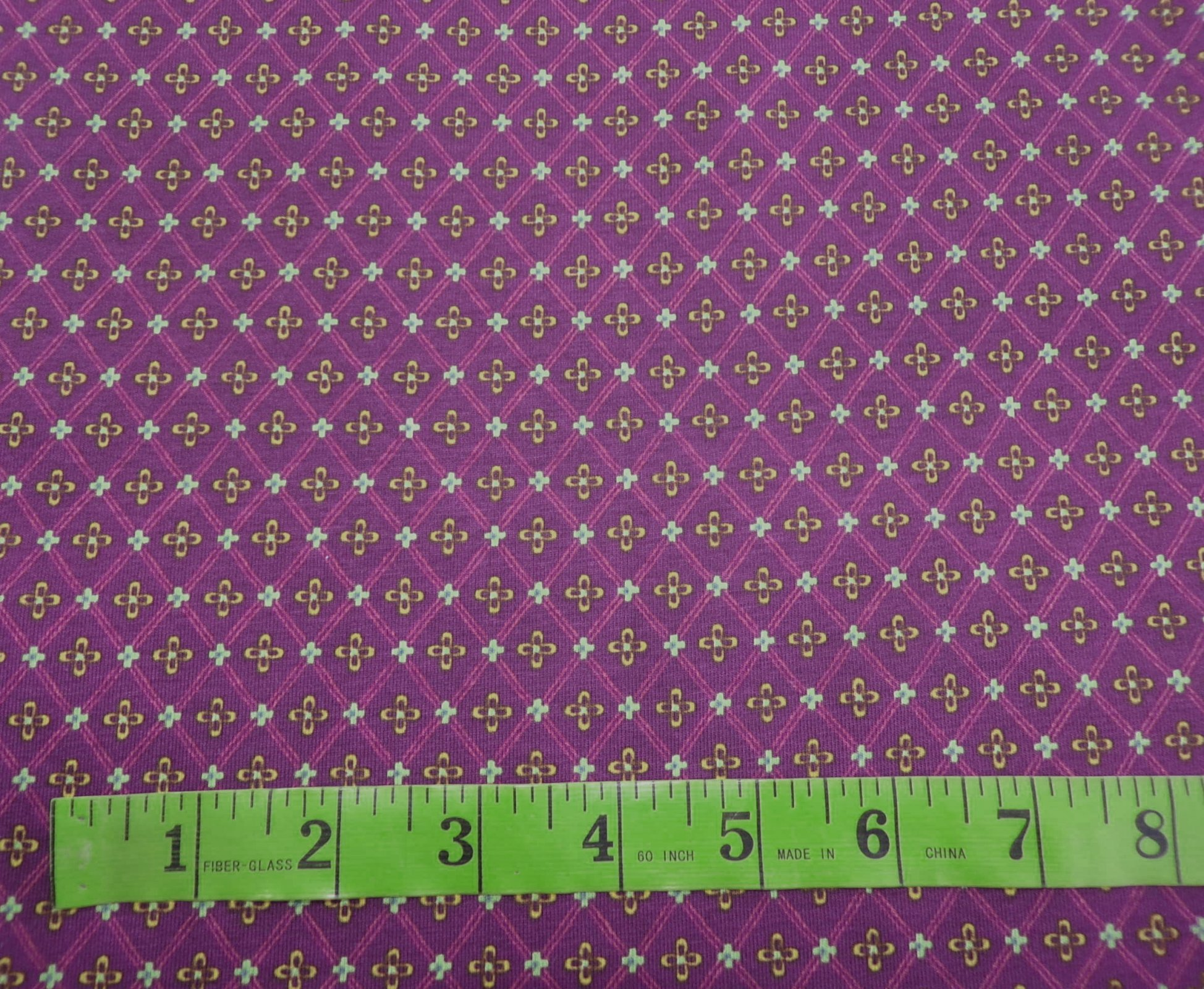 Cotton Lycra Jersey - Small Purple Medallions