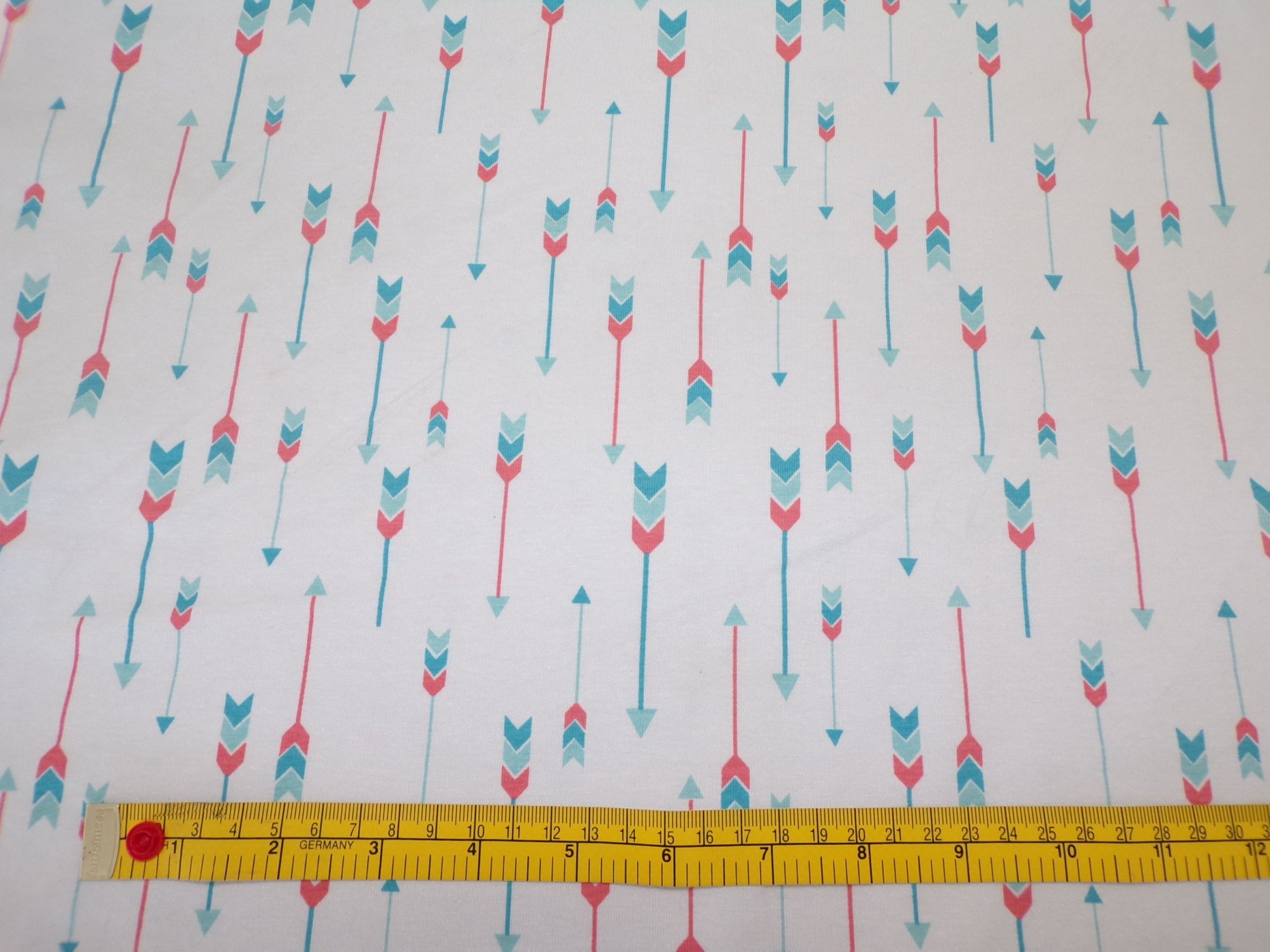 Cotton Lycra Jersey - Coral and Aqua Arrows