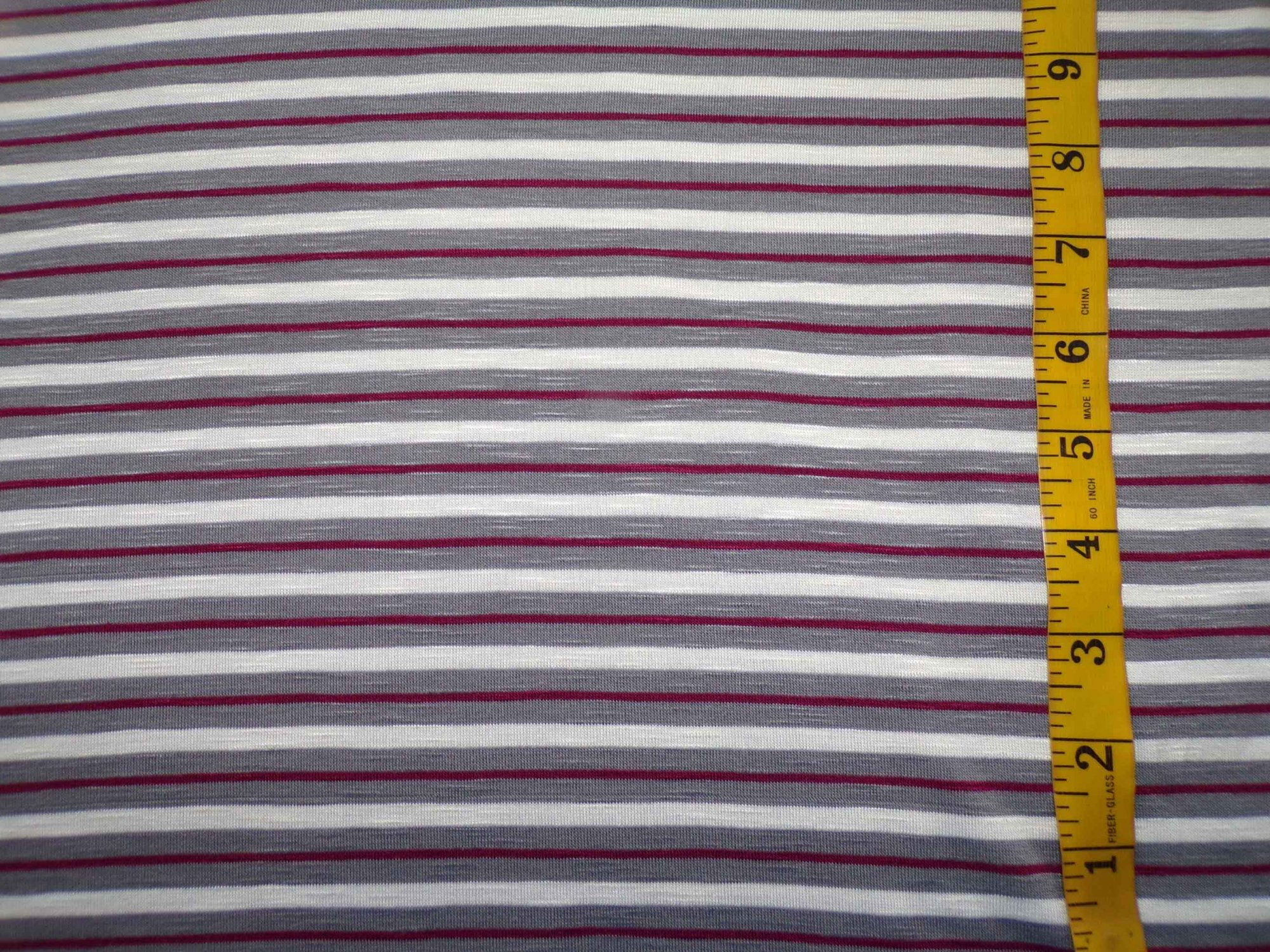 Cotton Lycra Jersey Stripes - Wine and Grey