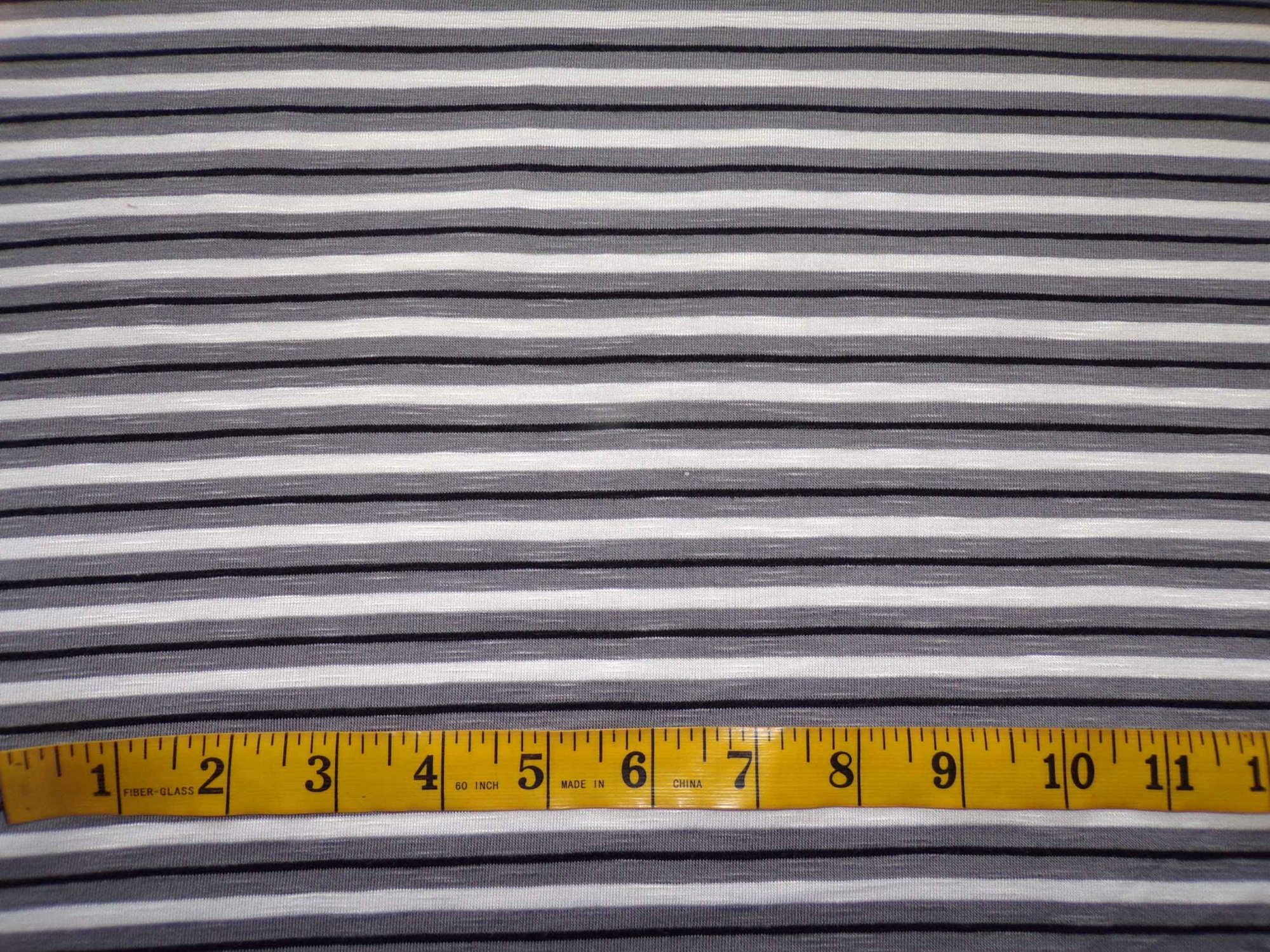 Cotton Lycra Slub Jersey Stripes - Black and Grey