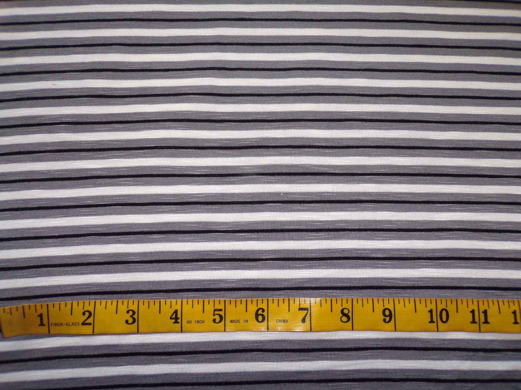Cotton Lycra Slub Jersey Stripes - Black and Grey