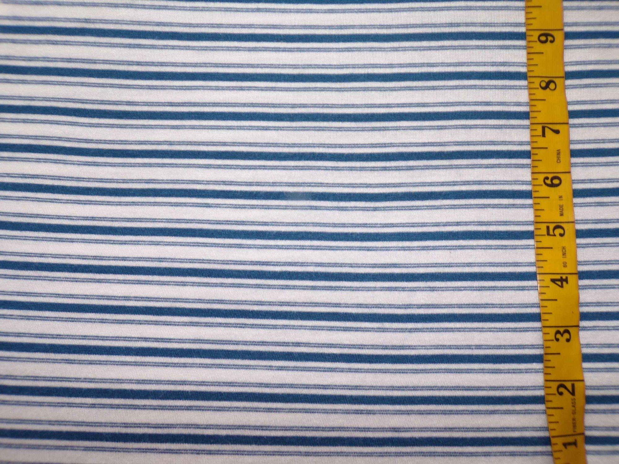 Cotton Lycra Jersey Sweater Knit Stripes - Marine Blue and White