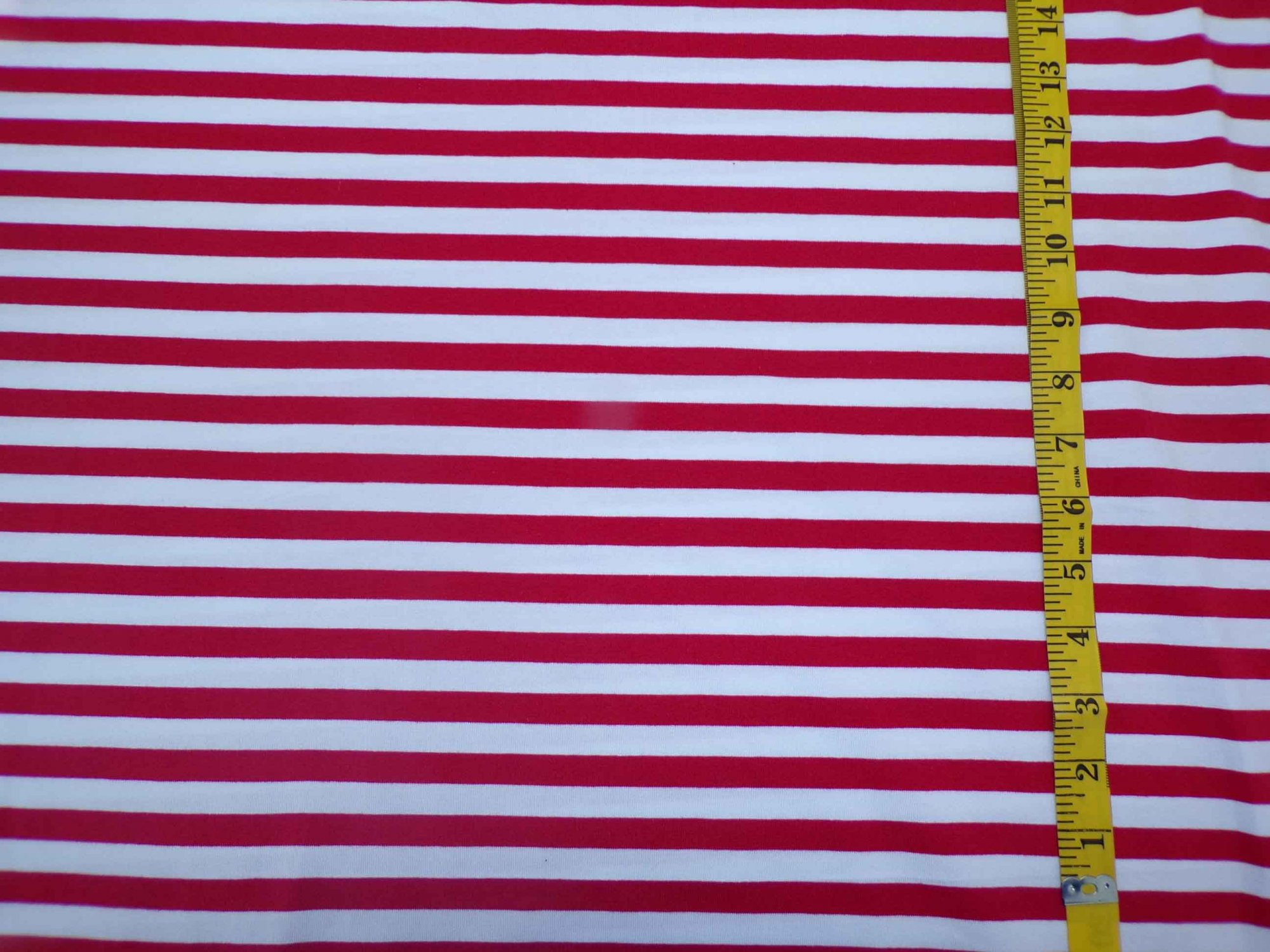 Cotton Lycra Jersey - Red and White Stripes