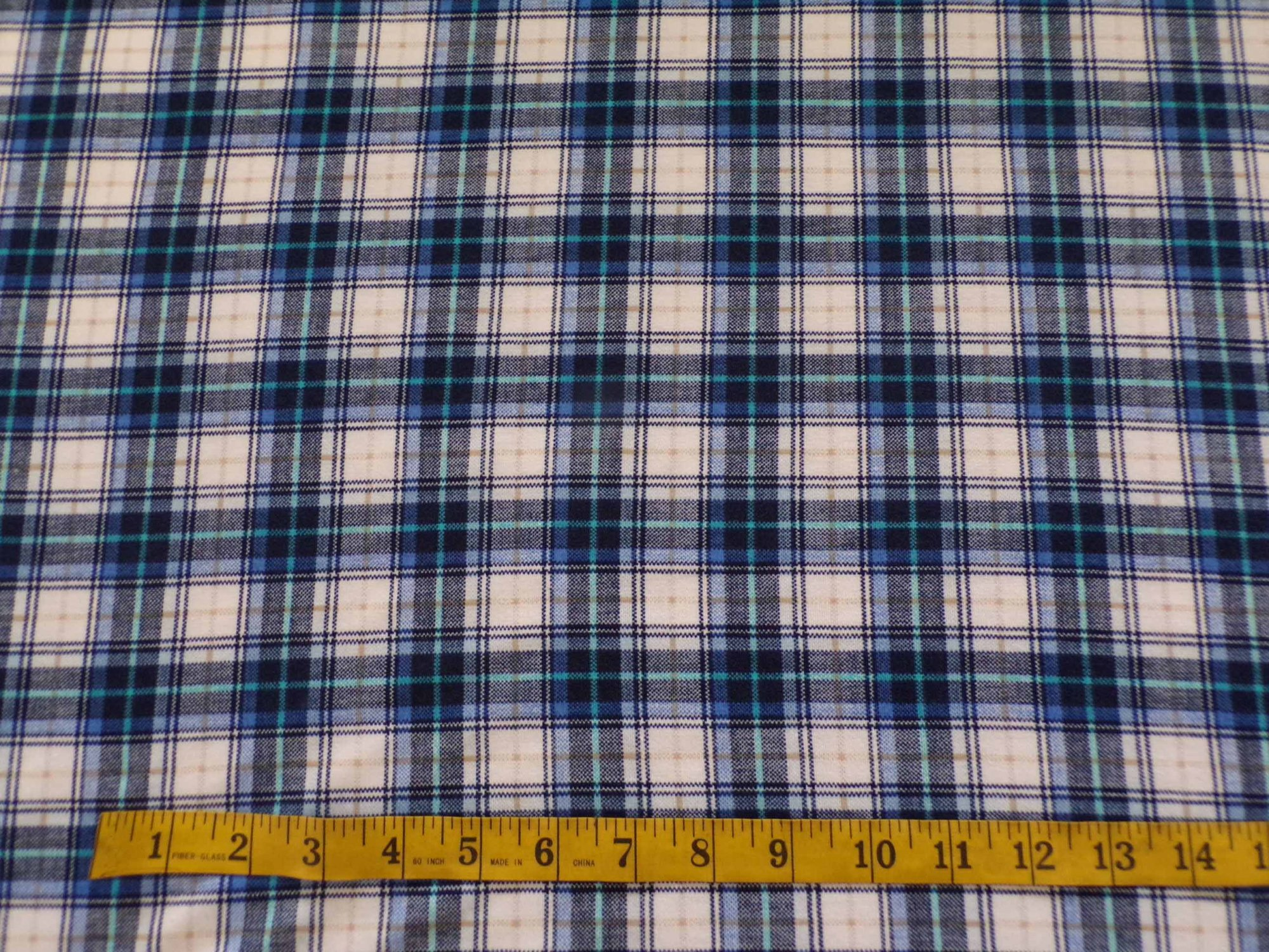 Cotton Lycra Jersey - Blue and White Plaid