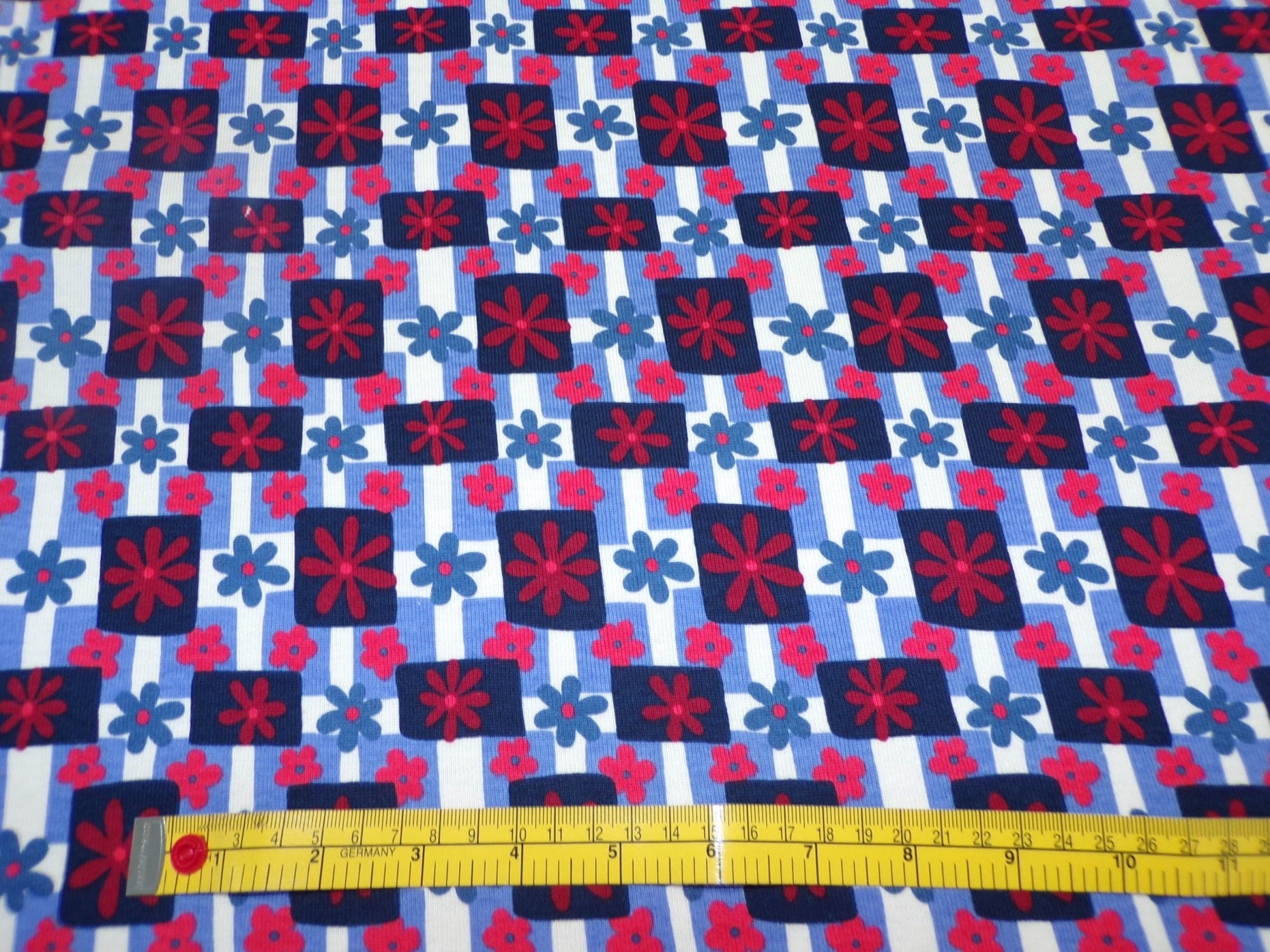 Cotton Ribbed Knit - Red White and Blue Floral Plaid