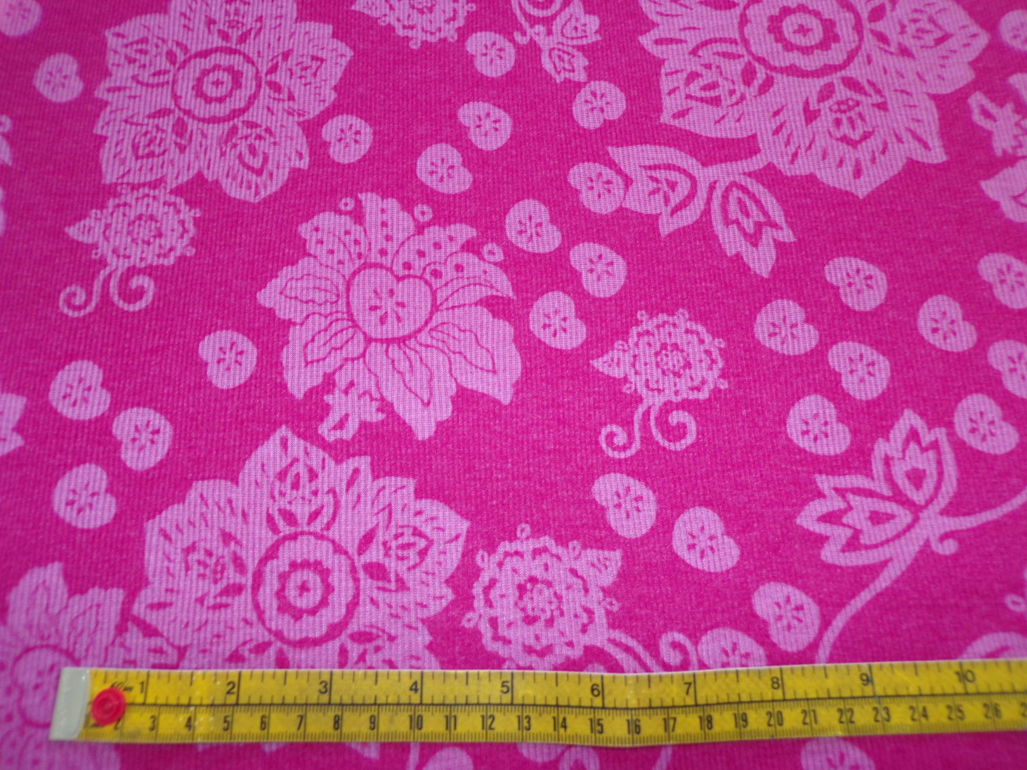 Cotton Ribbed Knit - Pink Floral