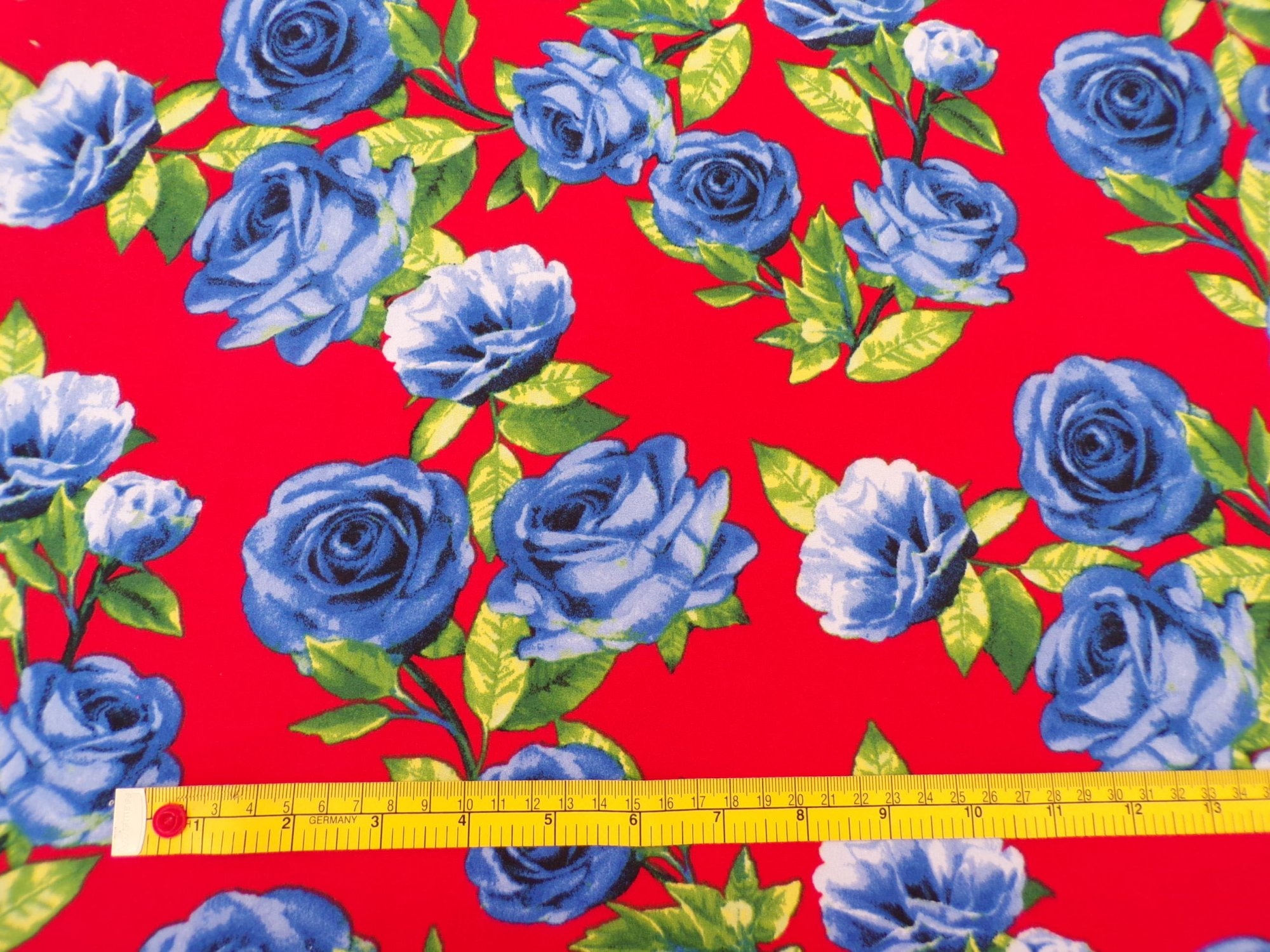 Brushed Polyester - Red with Blue Roses