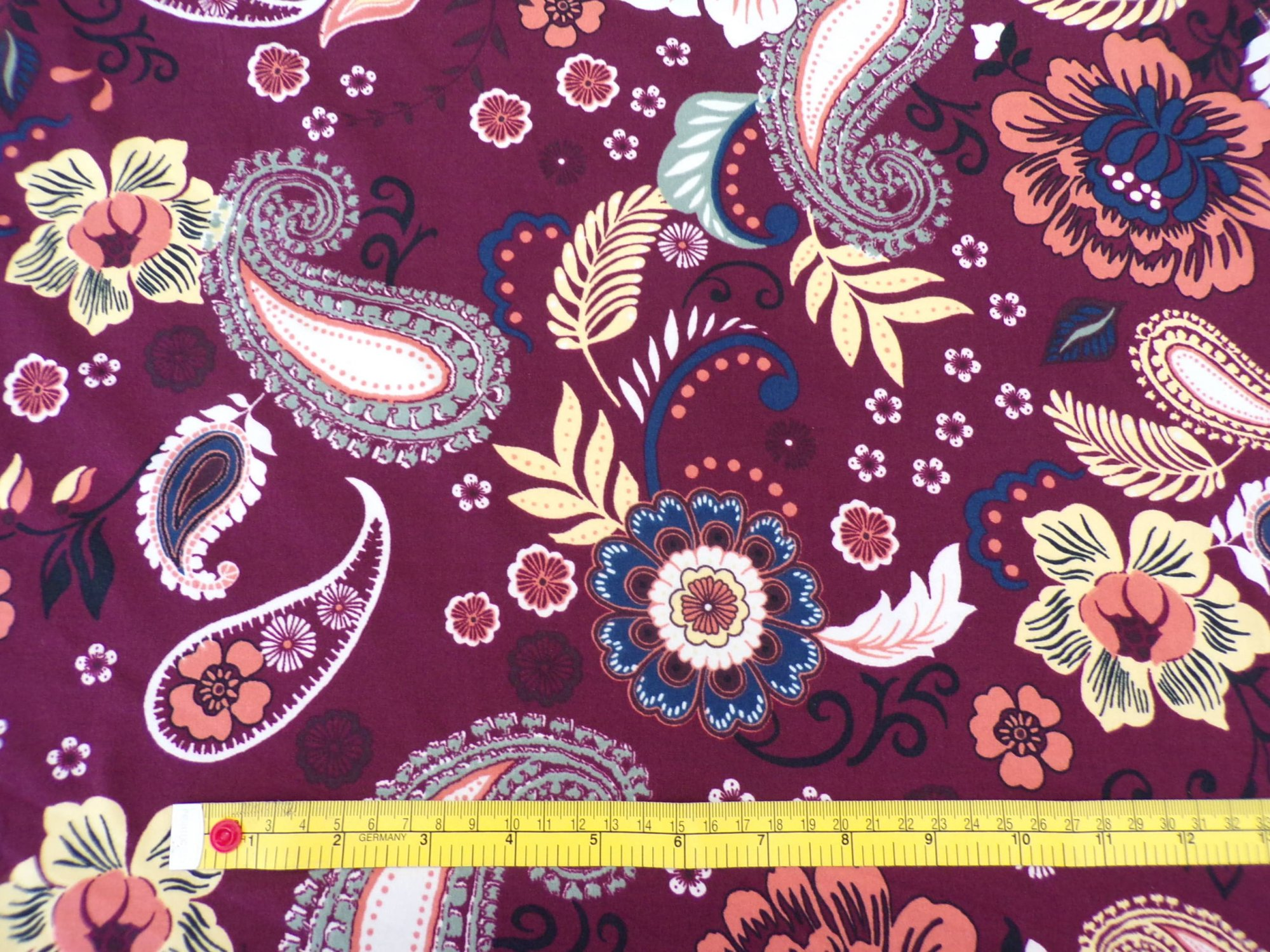 Brushed Polyester - Retro Floral Paisley Garden Burgundy