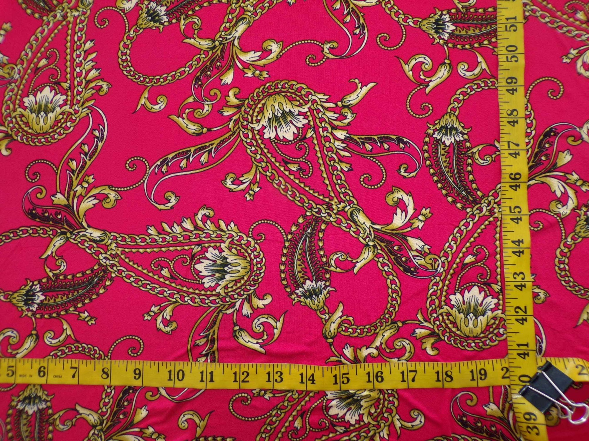 Milana (DBP) - Red with Gold Chain Paisley Print