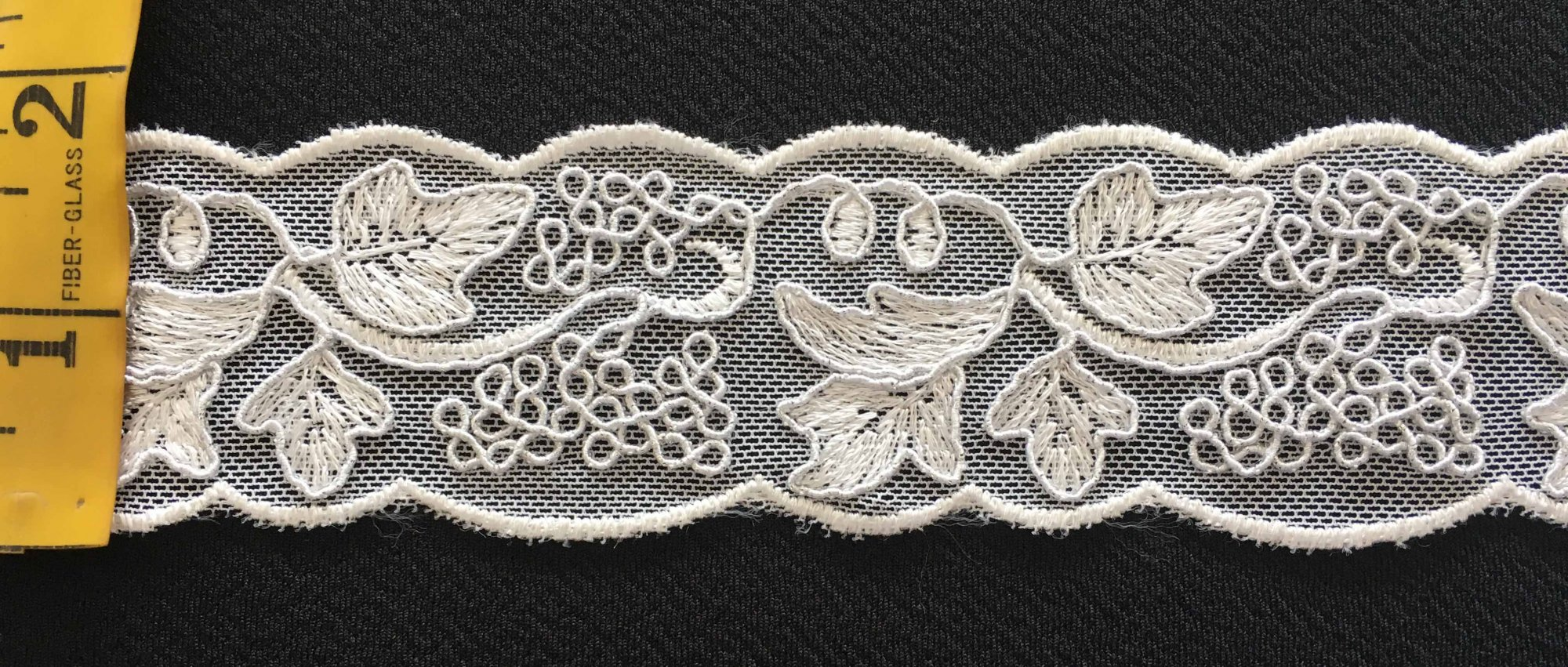 1 3/4  Embroidered Lace - White with Silver Yarn