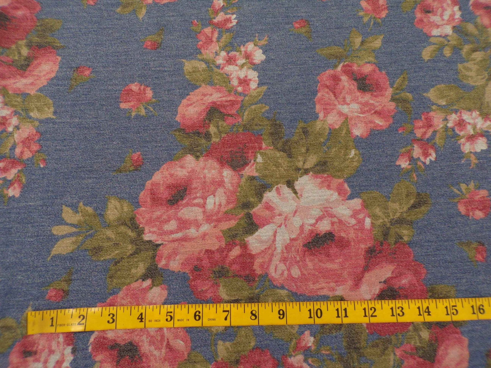 French Terry Jersey - Mauve Roses on Denim