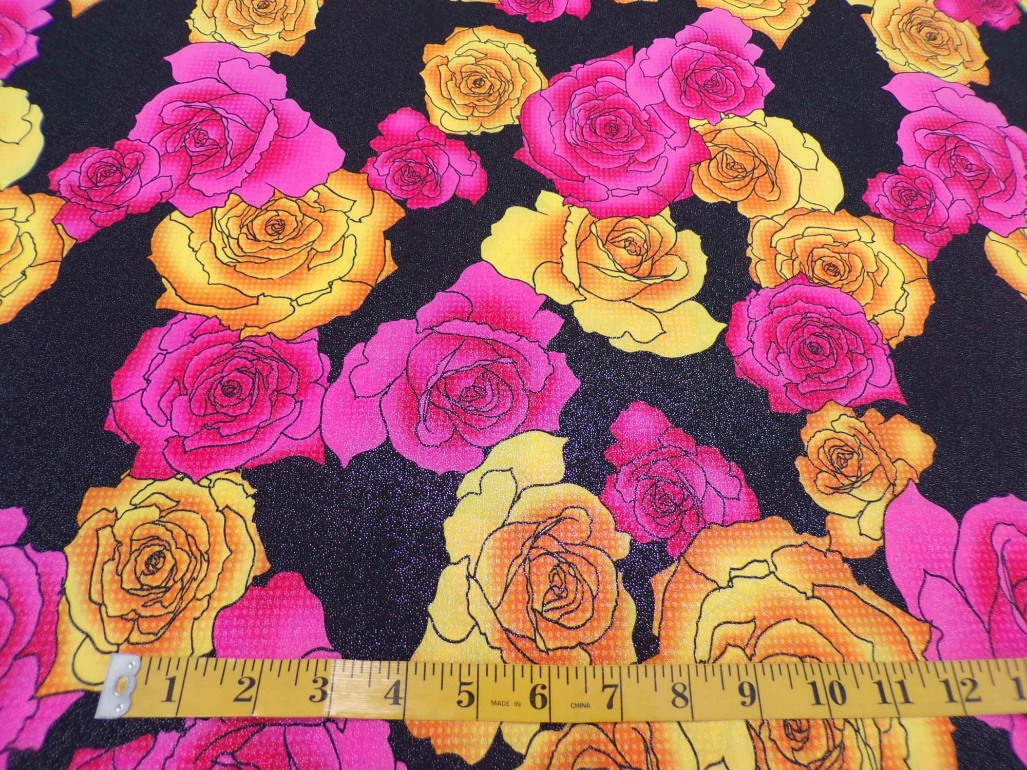 ITY Jersey - Pink and Yellow Roses on Black with Shimmer