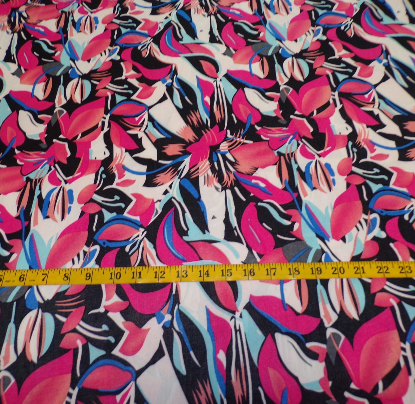ITY Jersey ?  Blue Pink and Black Abstract Floral
