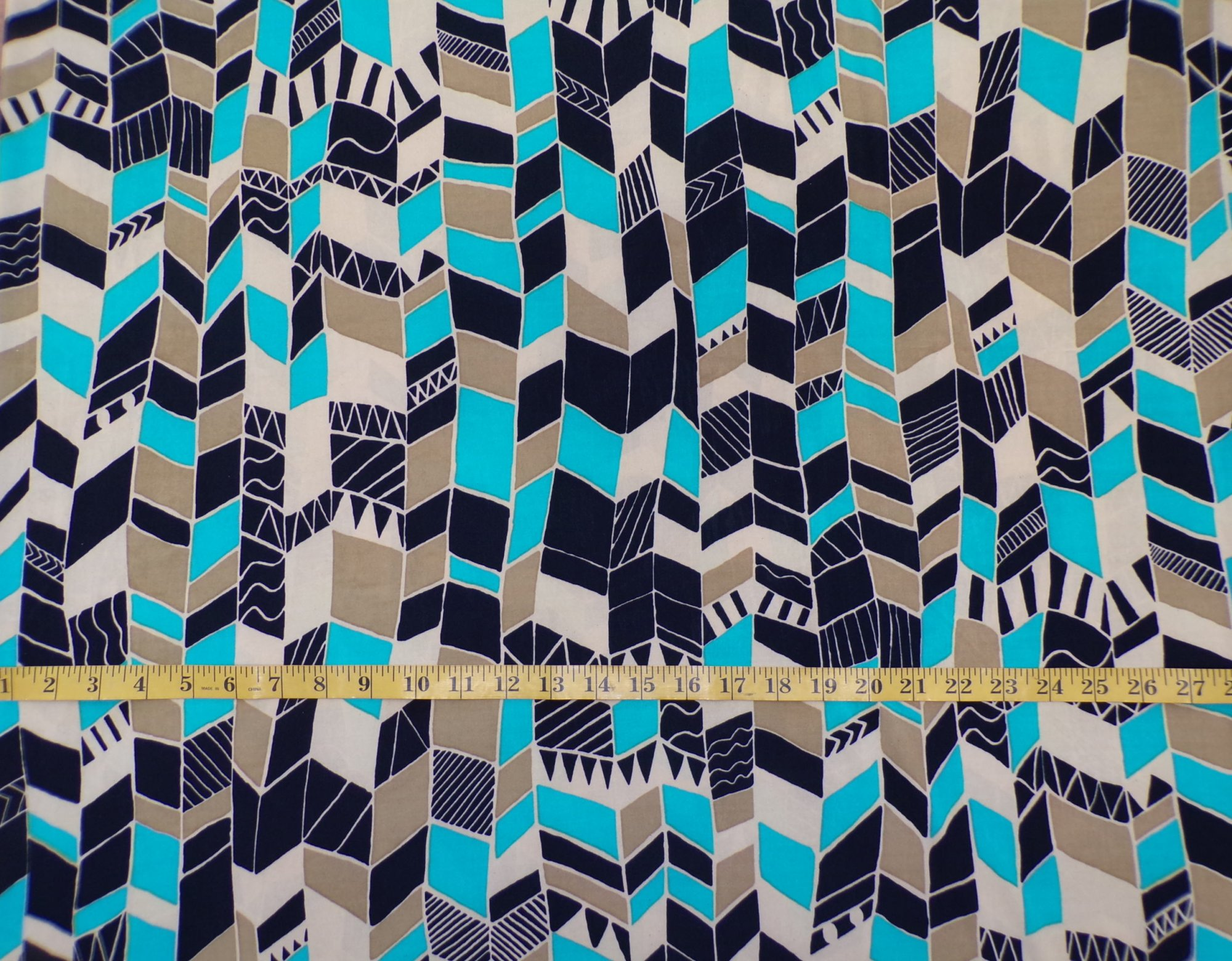 ITY Jersey - Teal Tan and Black Geometric Stripe