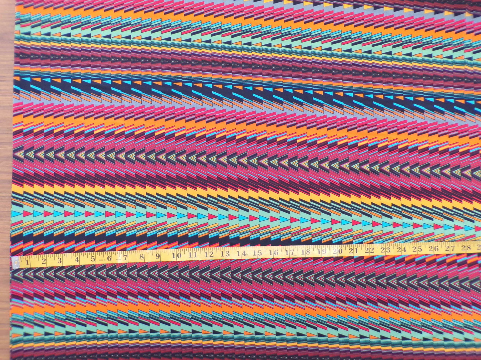 ITY Jersey - Orange and Turquoise Bargello Stripe - REMNANT ONLY