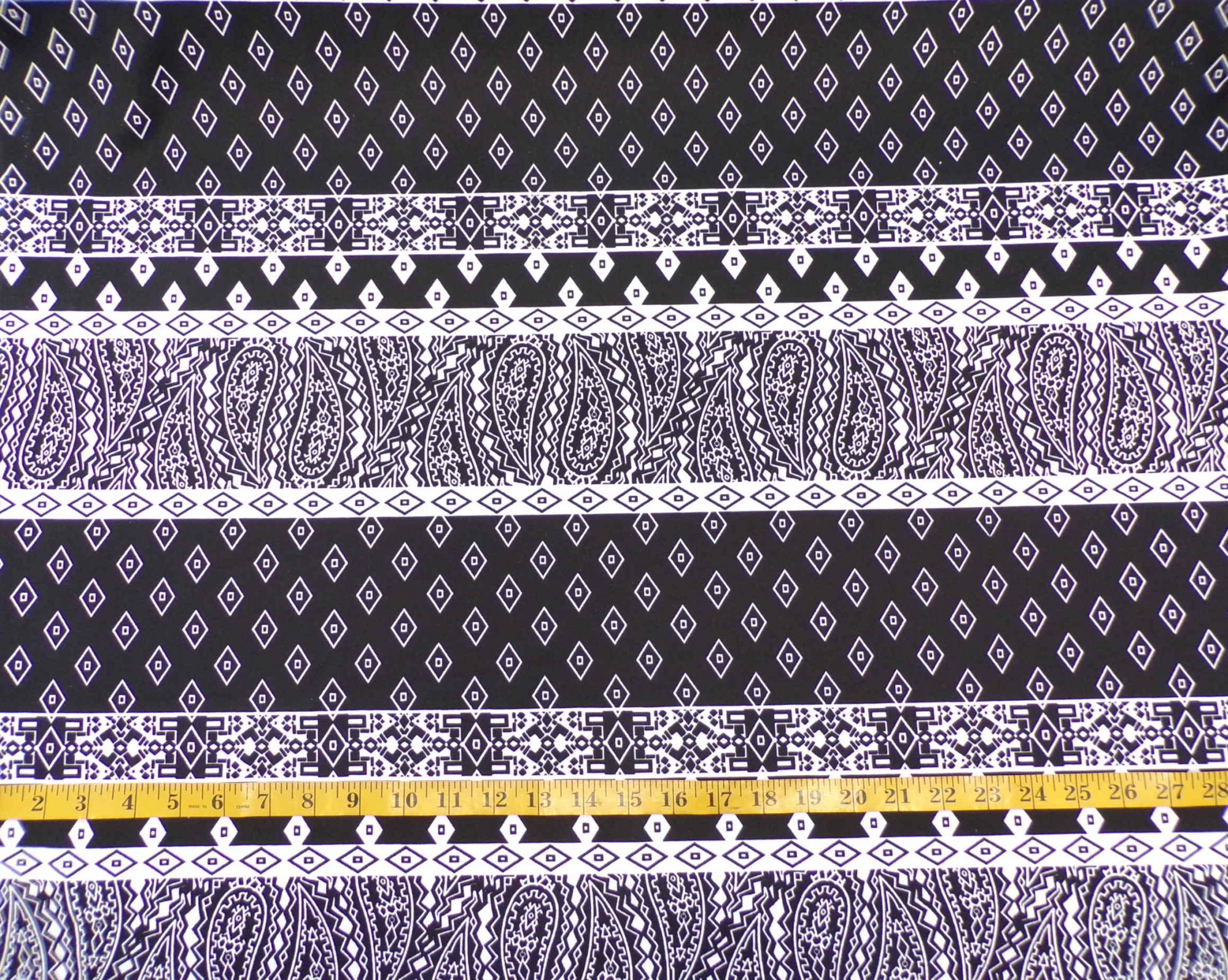 ITY Interlock - Black and White Paisley Stripes