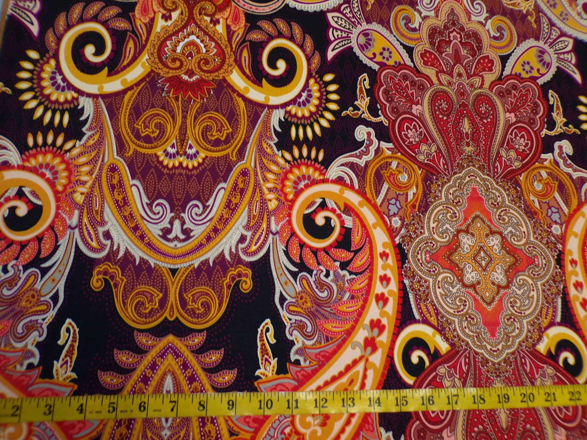 ITY Jersey - Large-scale Orange and Black Paisley