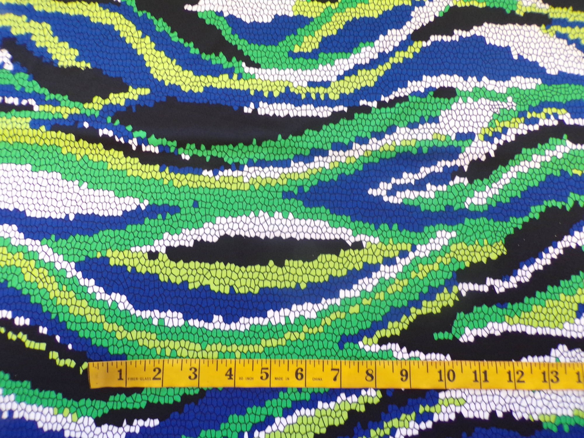 ITY Jersey - Green Blue and Black Mosaic Print