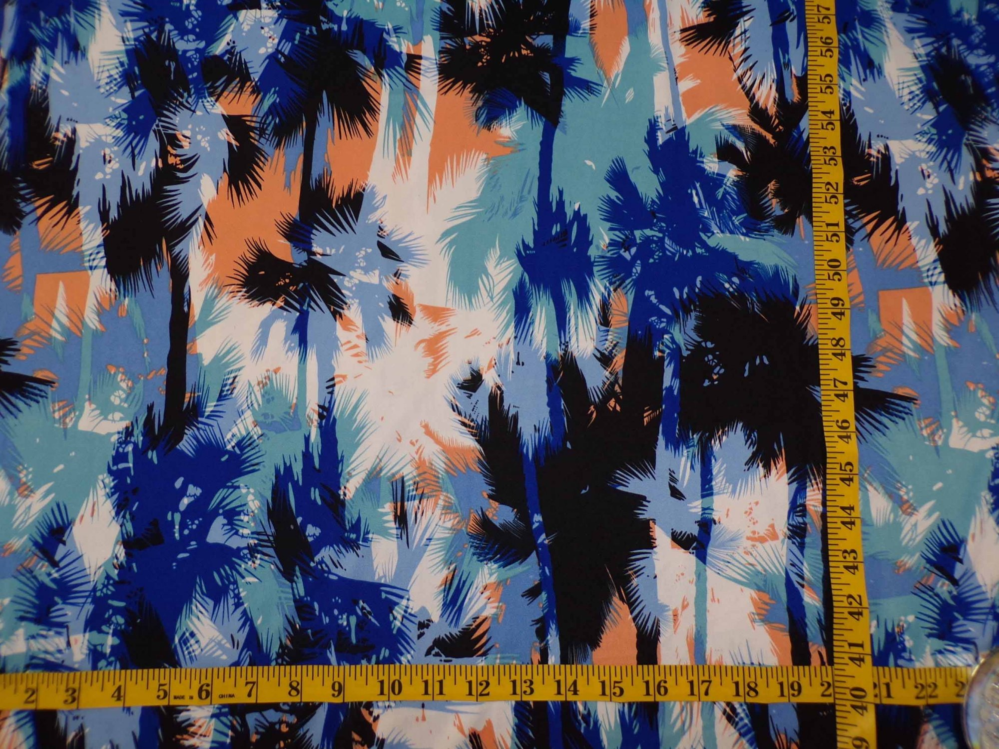 ITY Jersey - Blue Tan and Brown Palm Tree Print