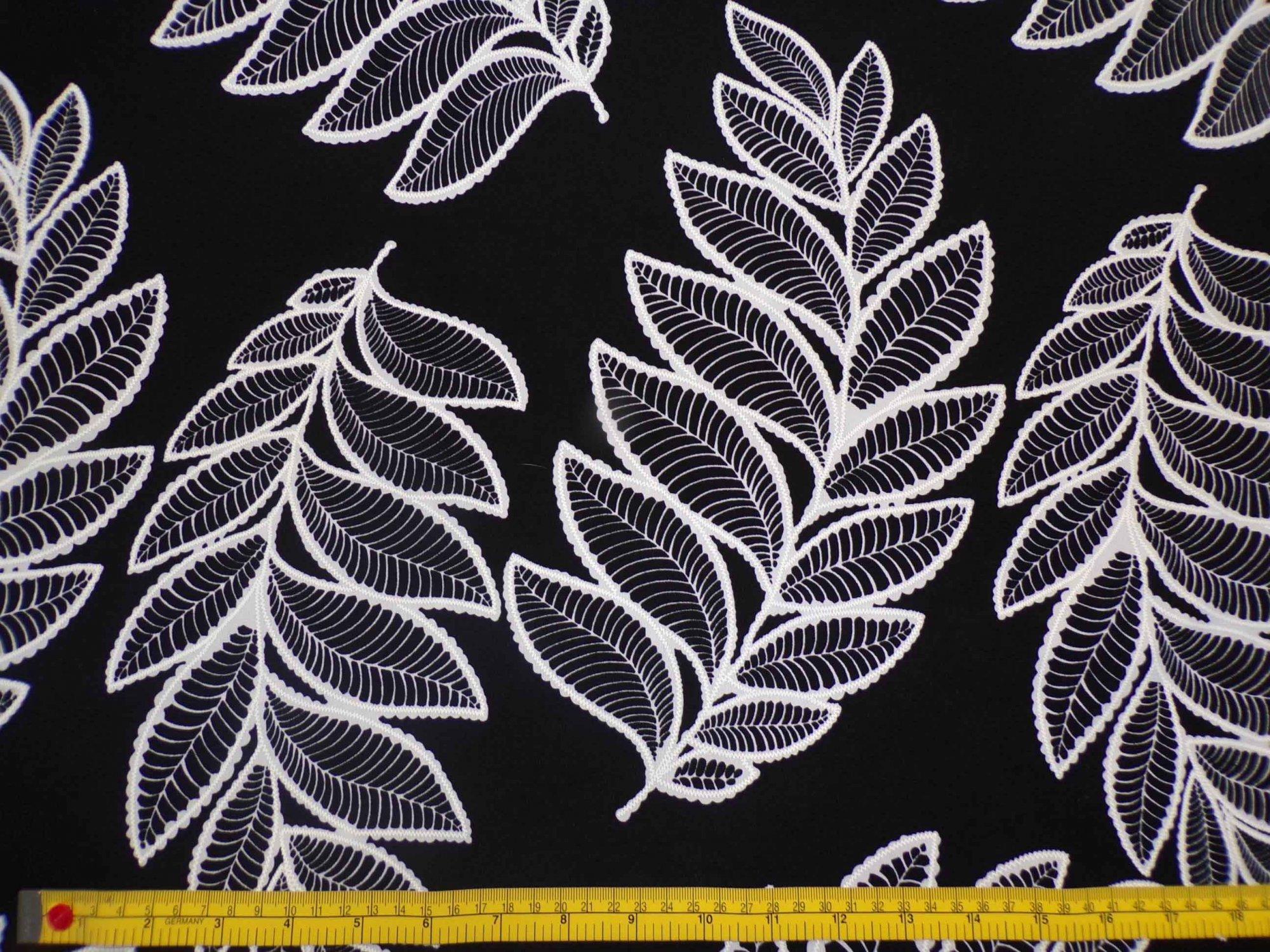 ITY Jersey - Black & Ivory Leaf Print