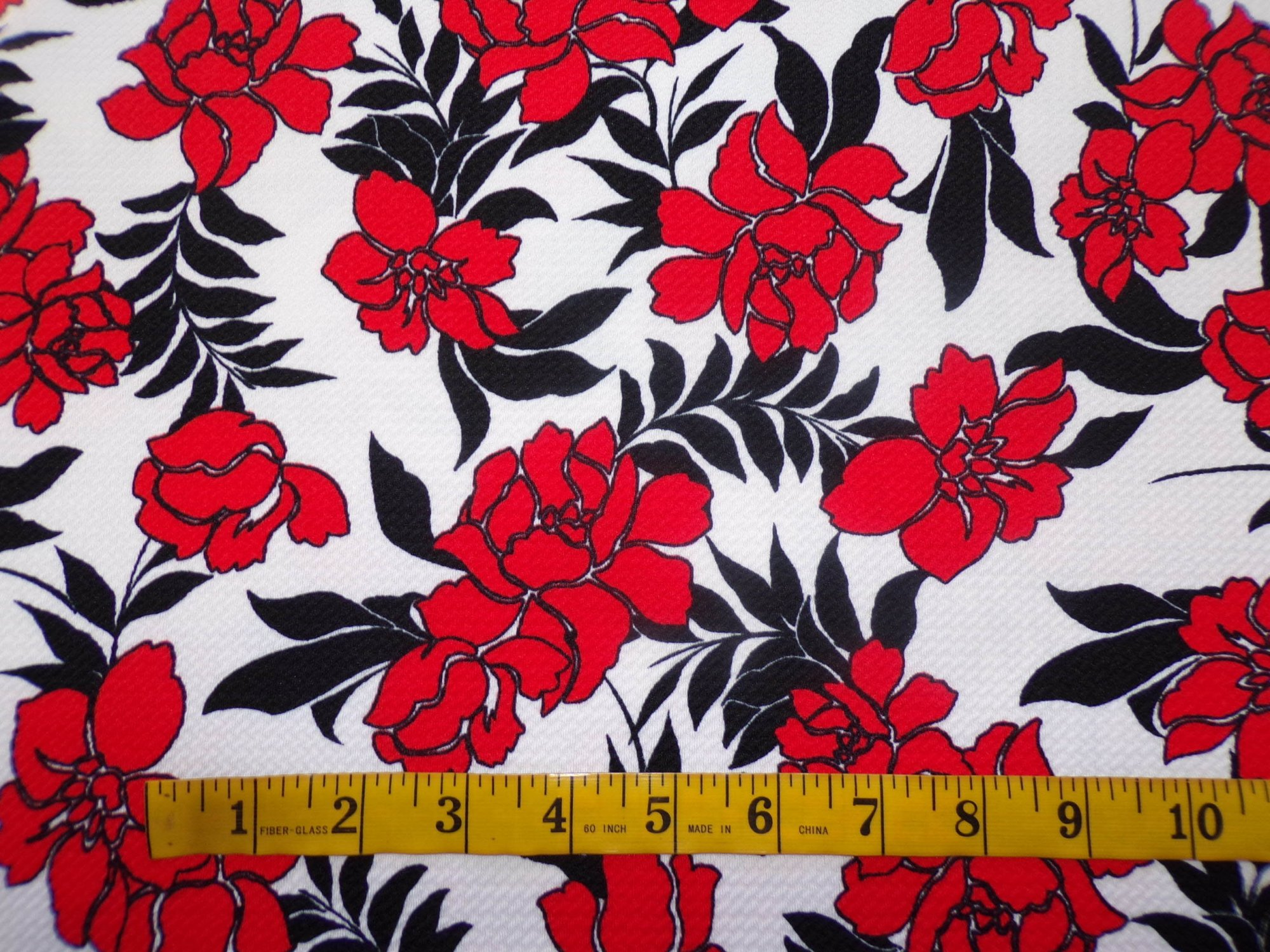 Liverpool Knit - Red Black and White Floral