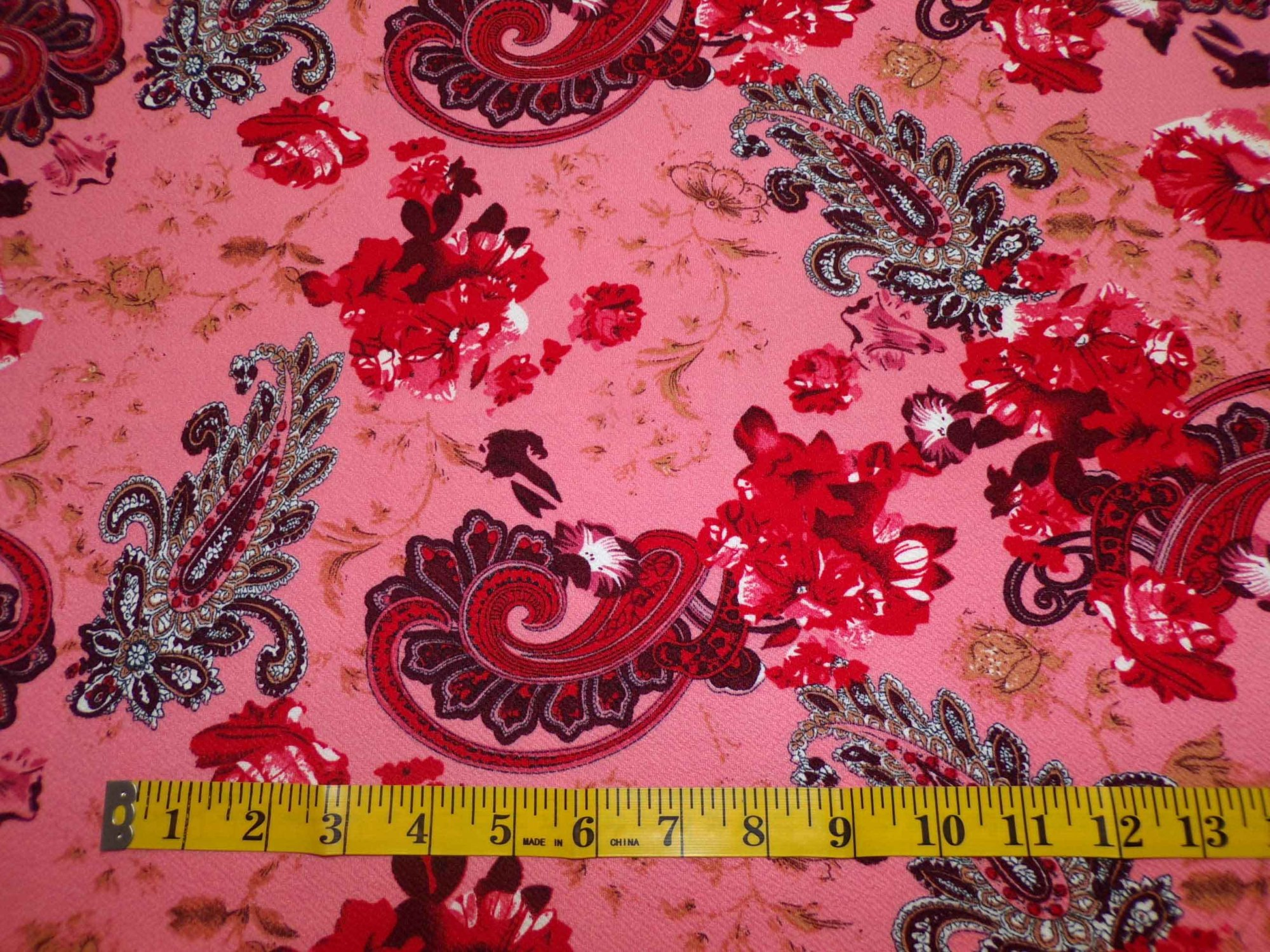 Liverpool Knit - Coral and Red Paisley