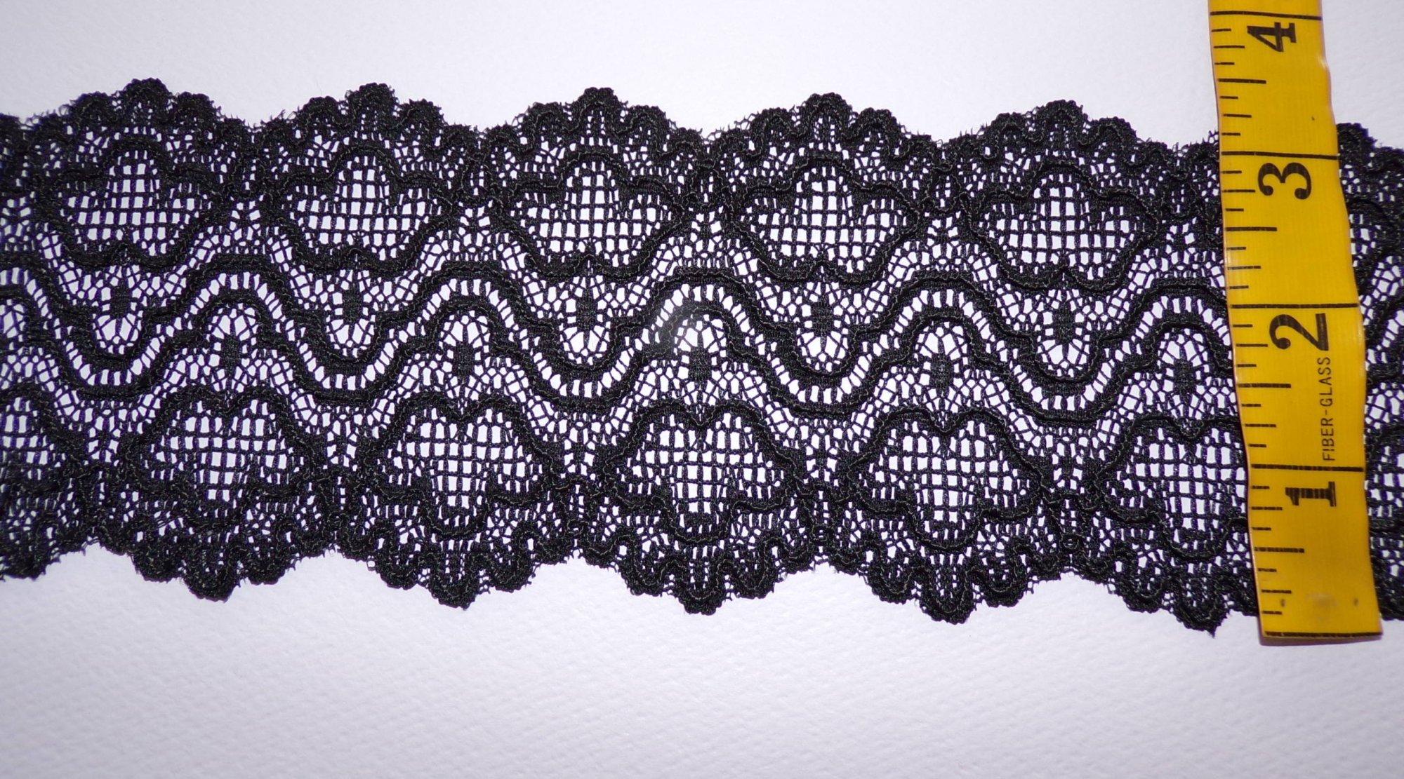 3 Re-Embroidered Black Rigid Lace - MF-254