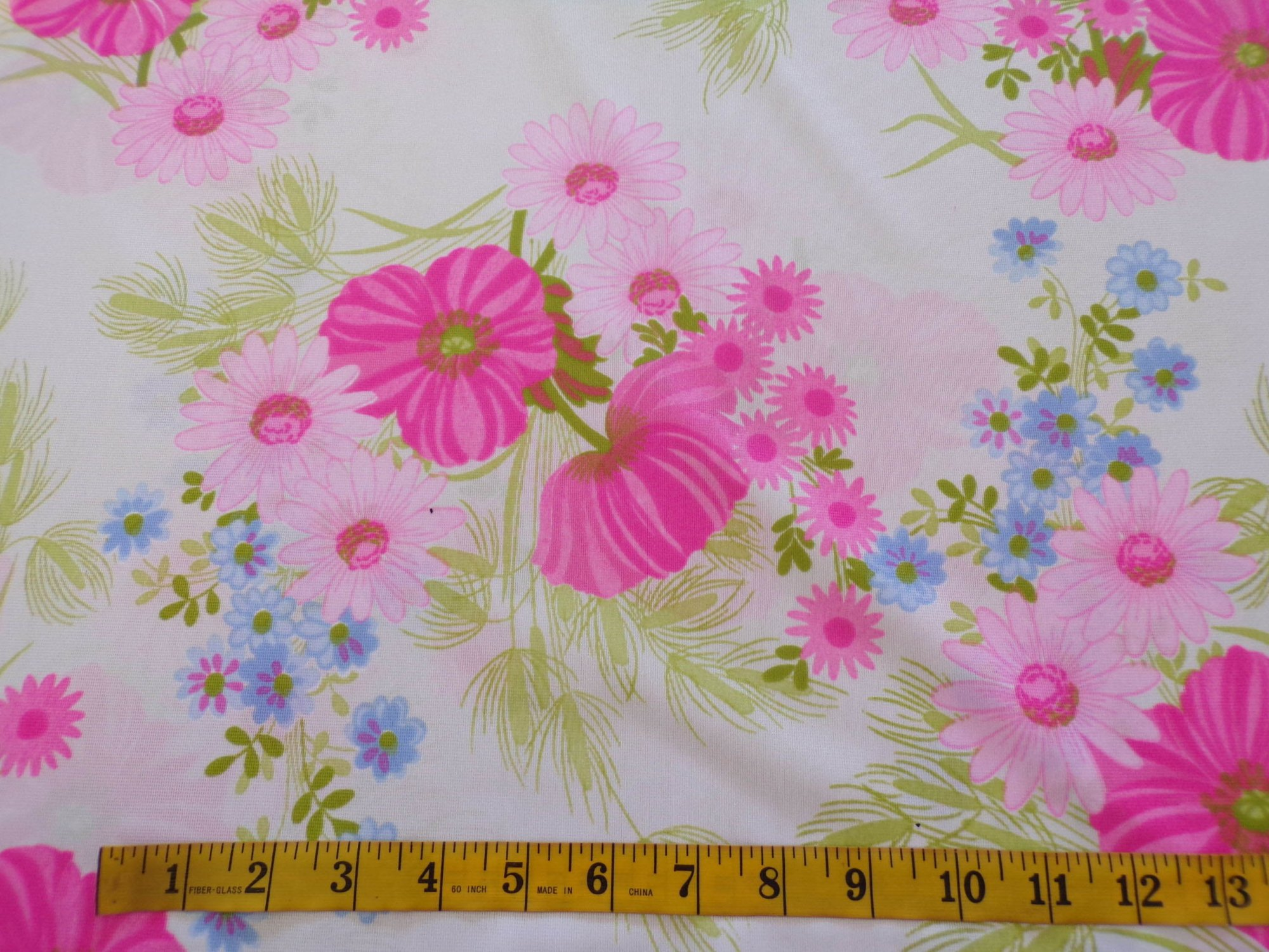 Nylon Tricot - White and Pink Floral