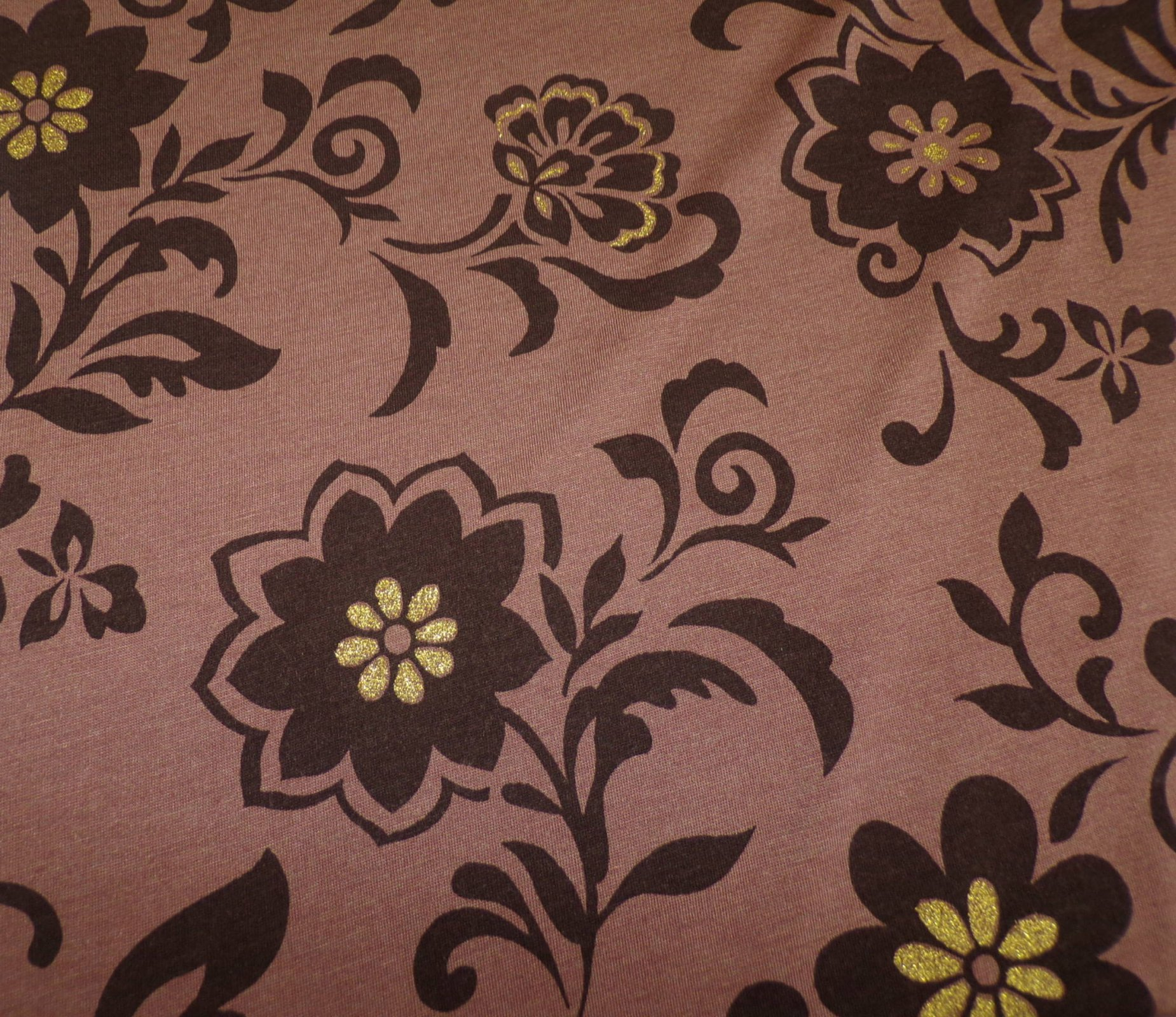 Jersey - Brown Black and Gold Floral