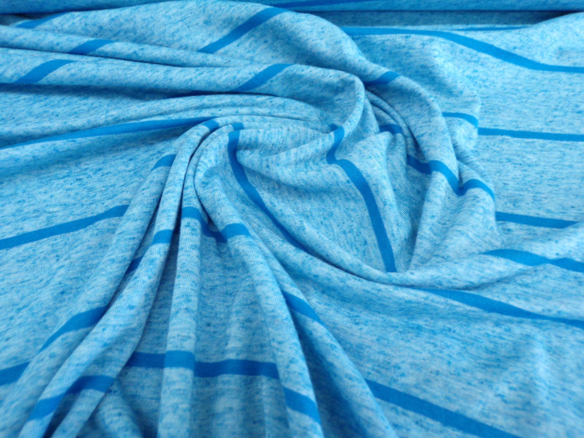 Polyester Cotton Jersey - Blue Stripes