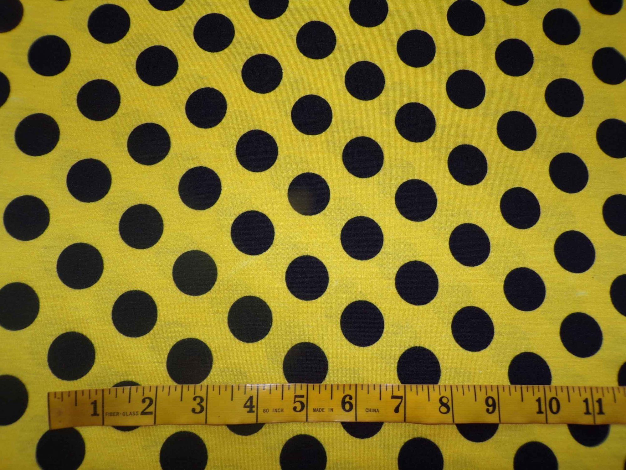 Polyester Cotton Jersey - Yellow with Black Polka Dots