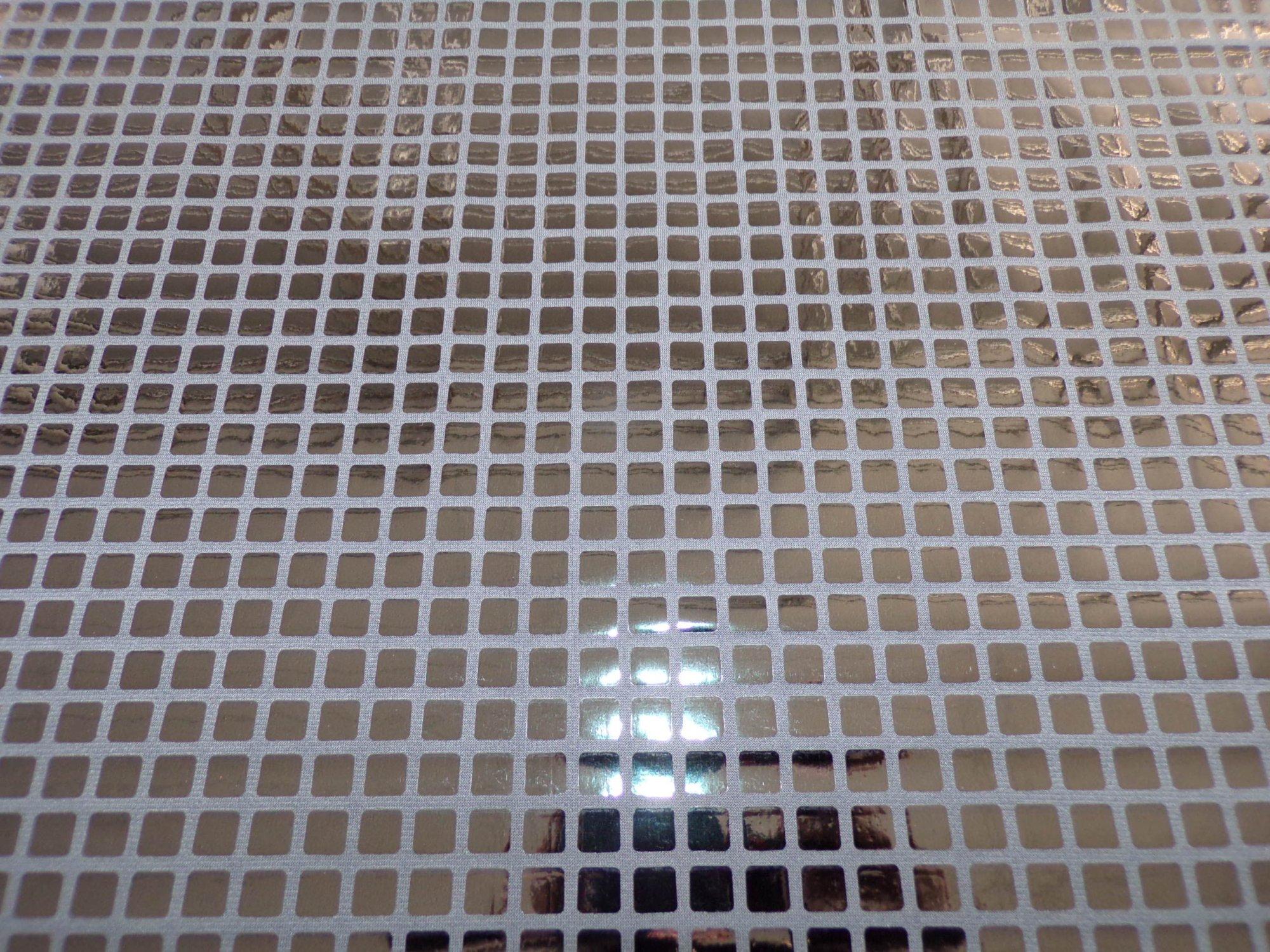 Polyester Interlock - Shiny Black Grid