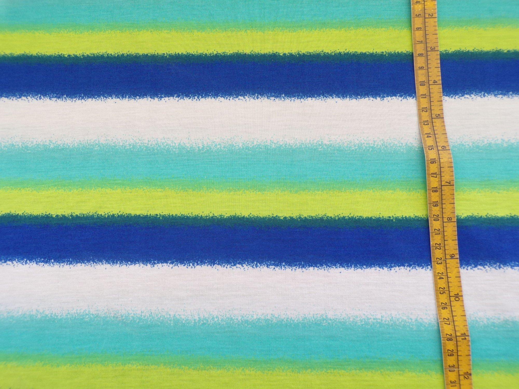 Polyester Slub Jersey - Ivory Aqua Kiwi and Royal Stripes