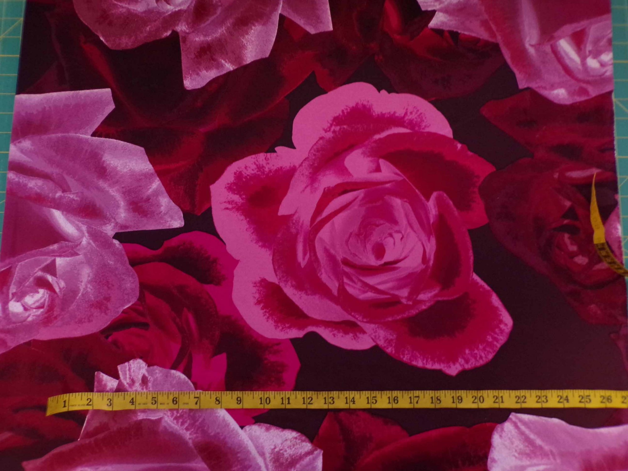 Scuba Ponte Knit - Large-scale Roses in Reds and Pinks