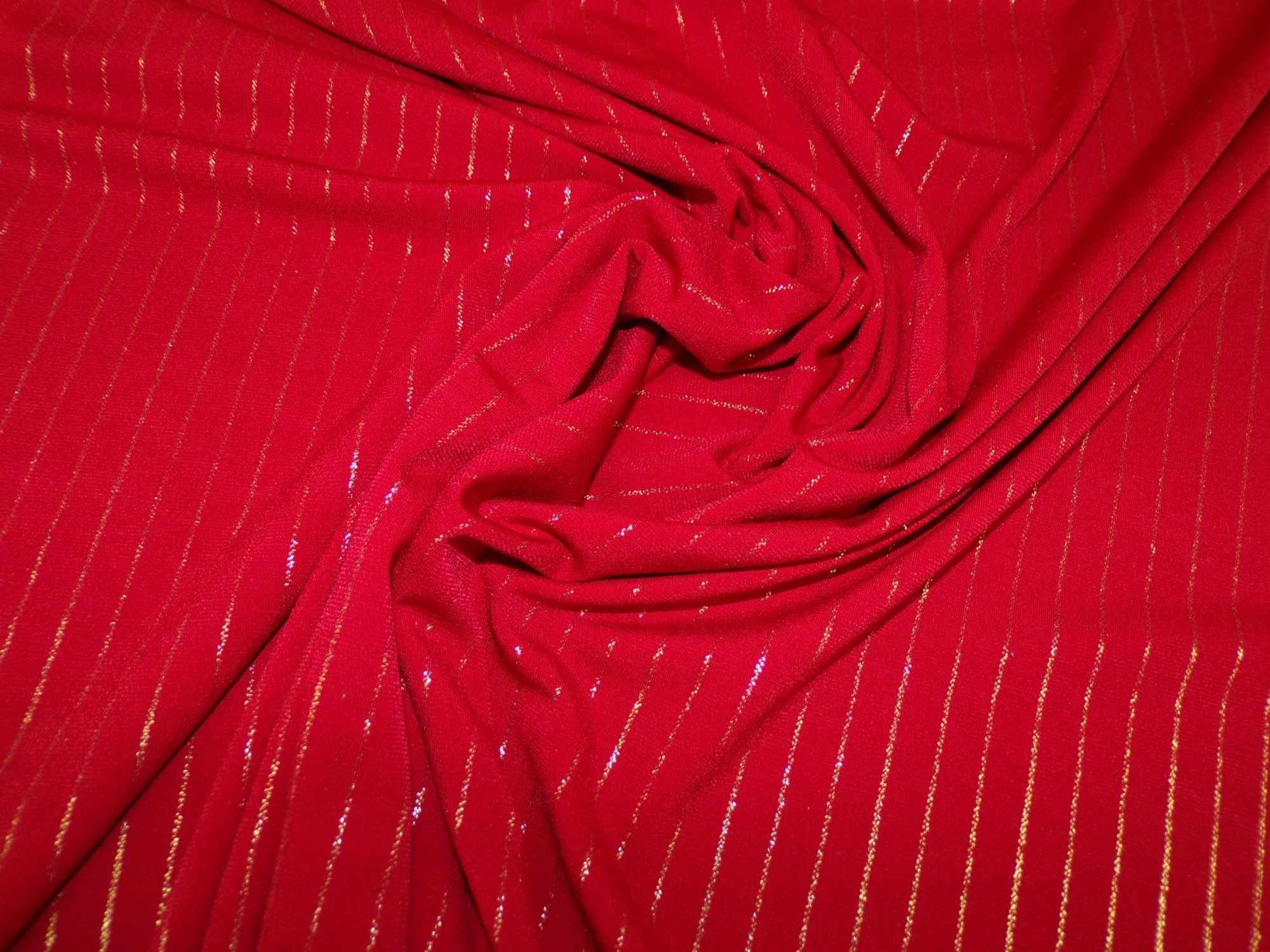 Polyester Lycra Jersey -Red with Gold Stripes