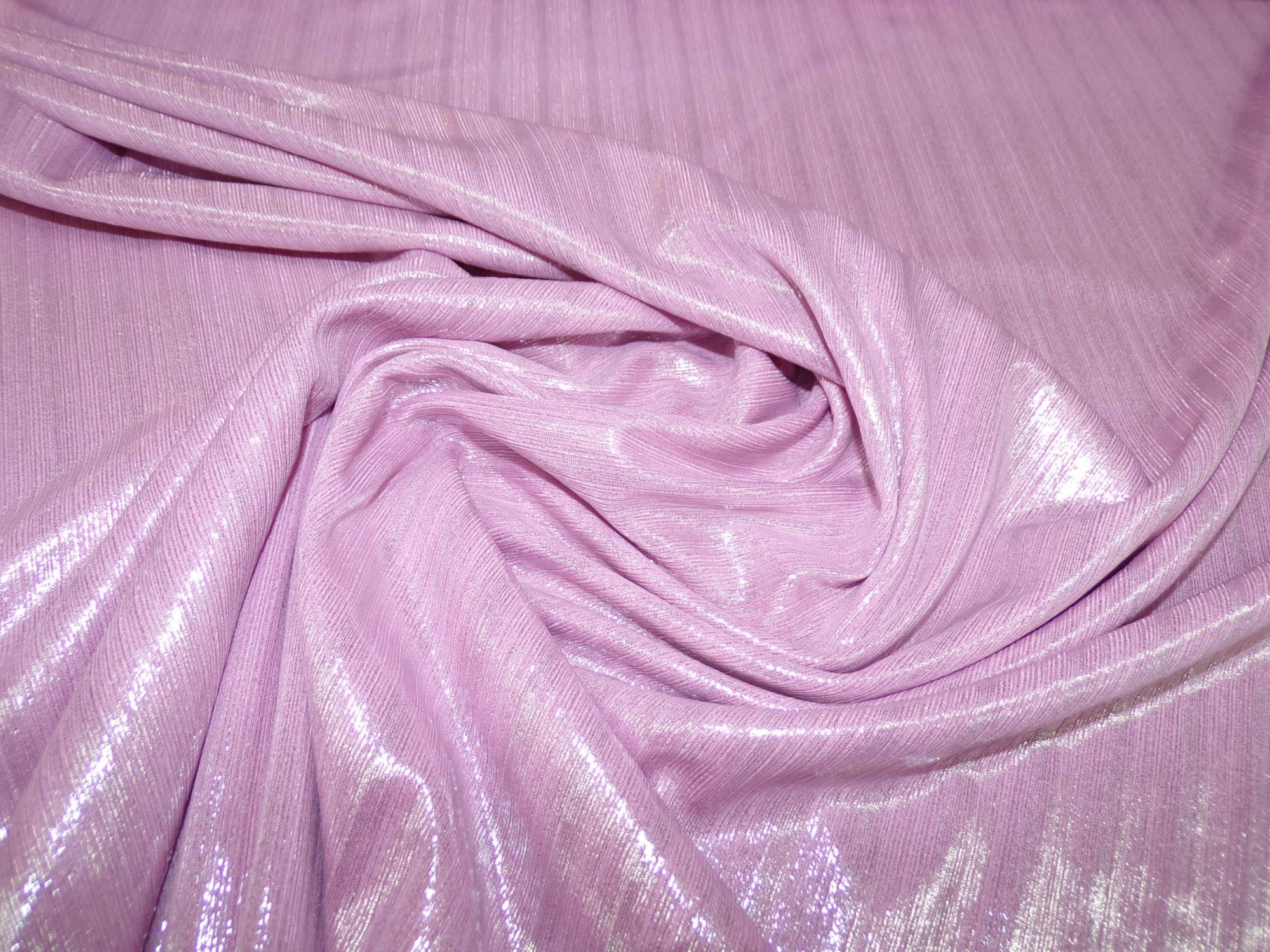 Polyester Lycra Ribbed Knit - Pink with Silver Accents
