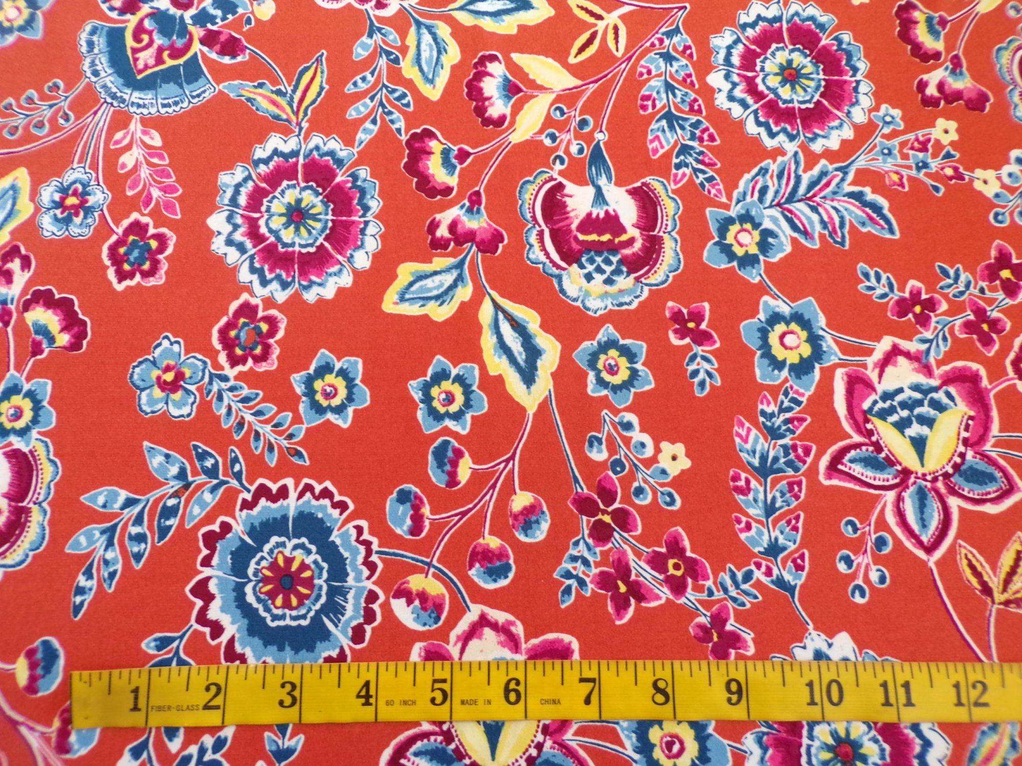 Crepe Stitch Jersey - Orange  and Teal Floral