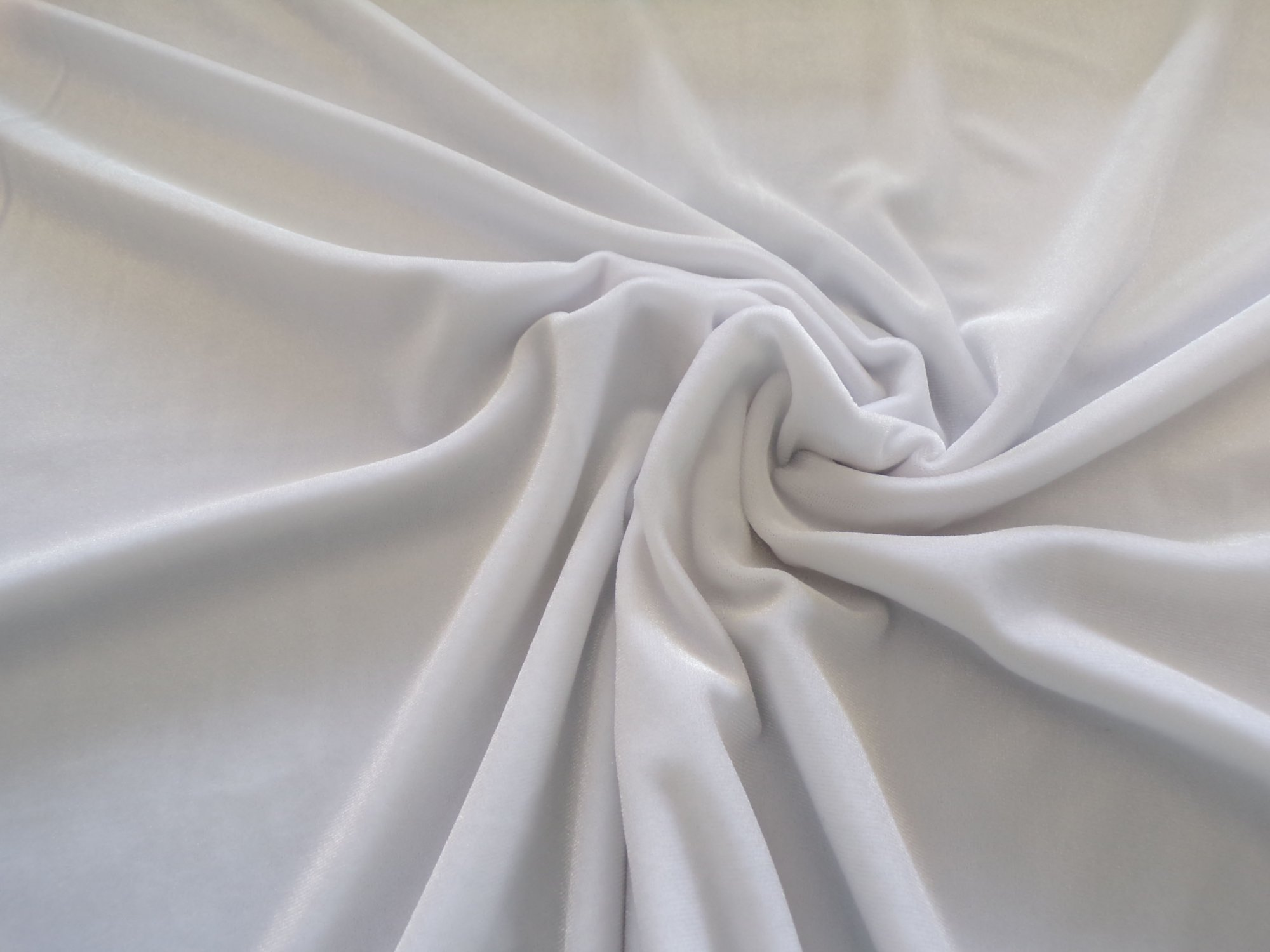 Polyester Lycra Stretch Velvet - White