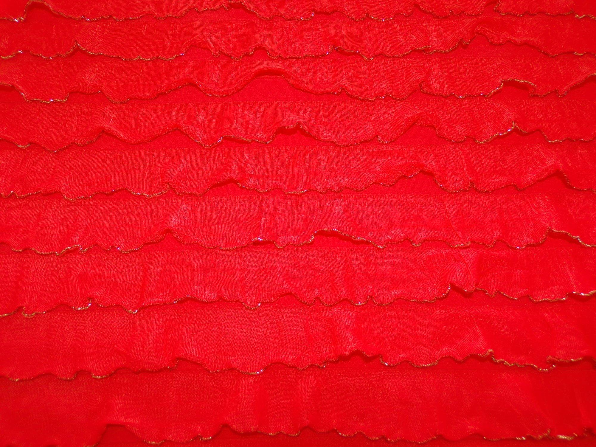 Polyester Nylon Ruffles - Orangey Red